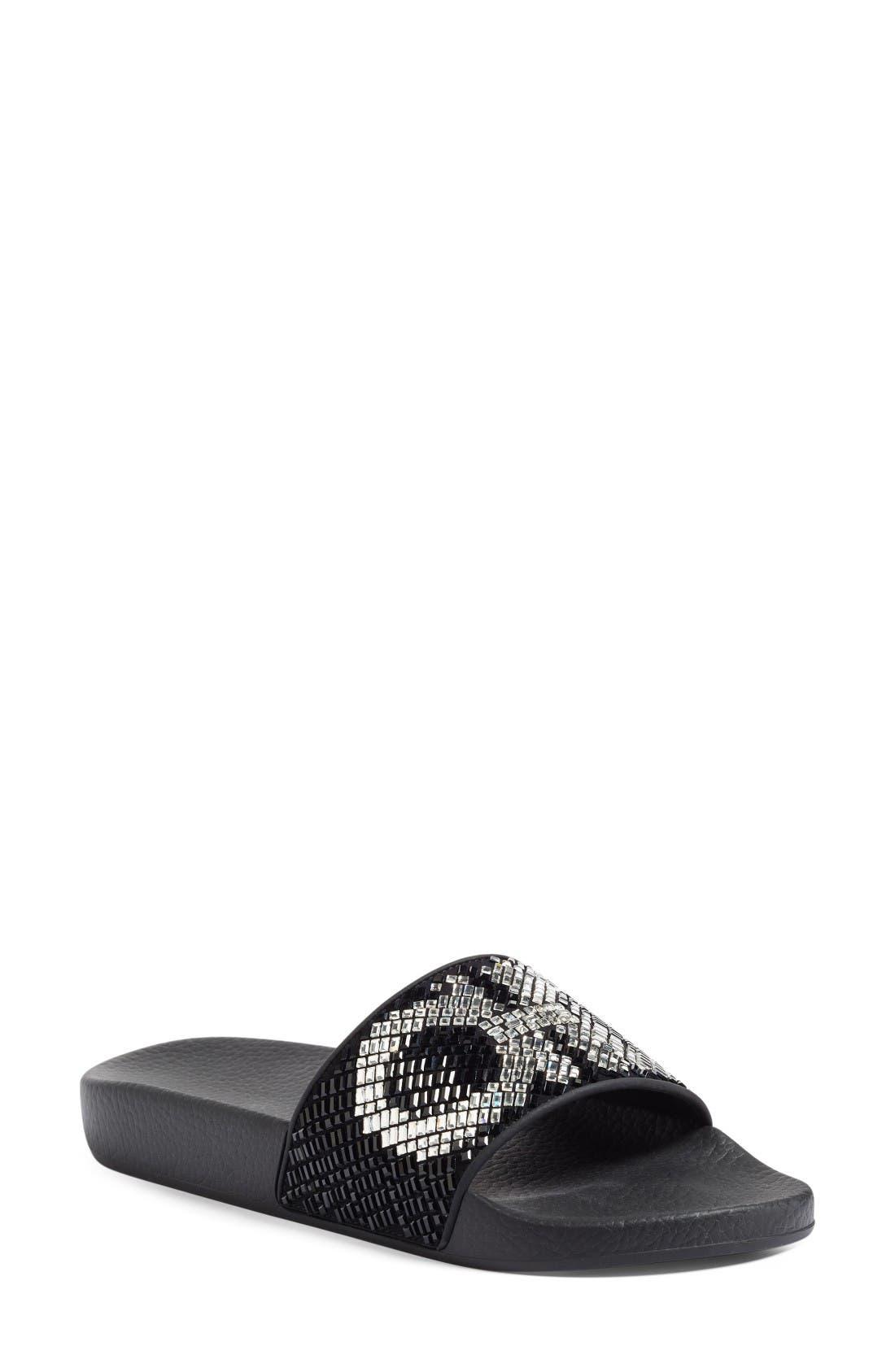 Main Image - Salvatore Ferragamo Crystal Logo Slide Sandal (Women)