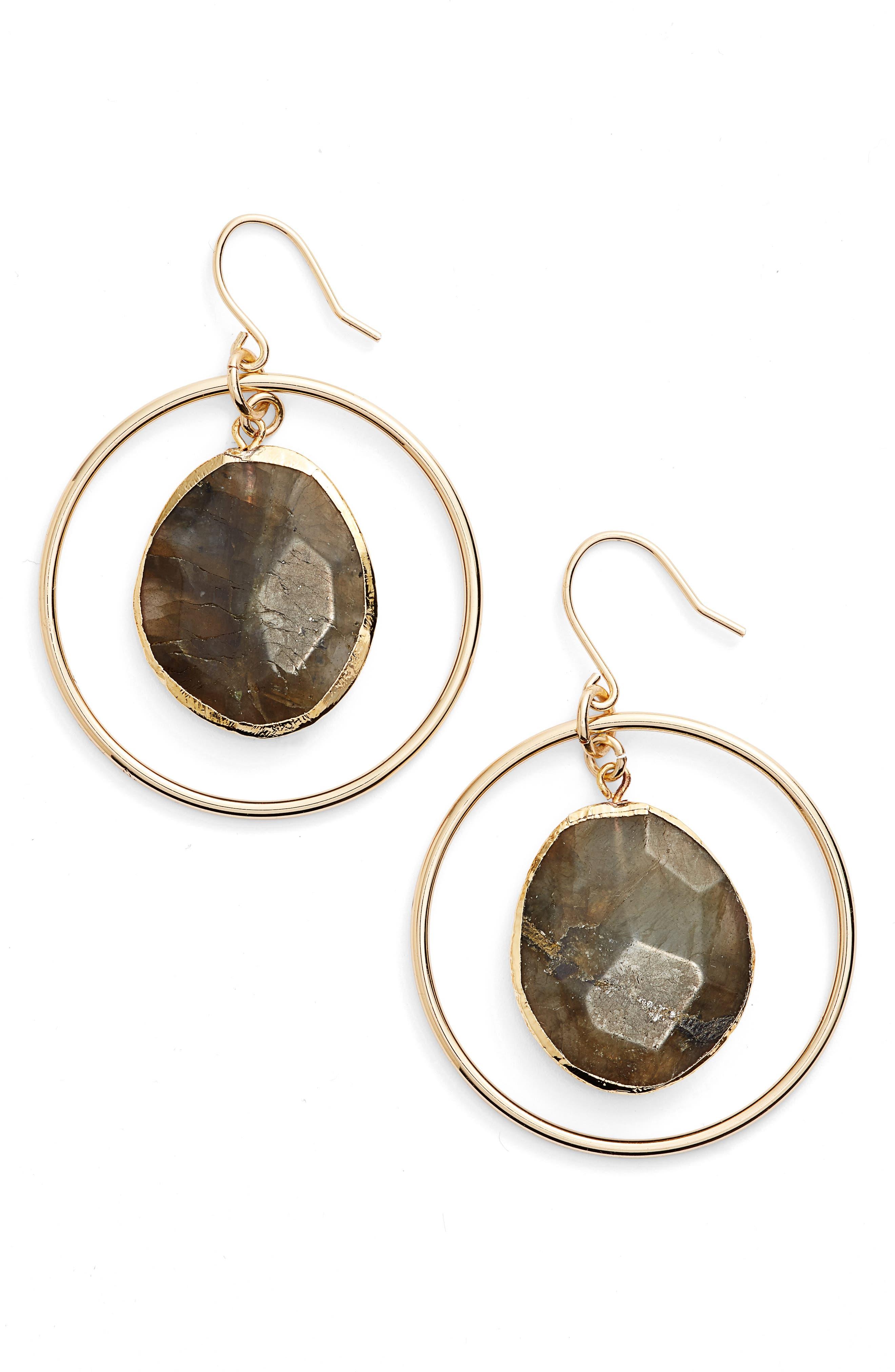 Alternate Image 1 Selected - Nordstrom Stone Frontal Hoop Earrings