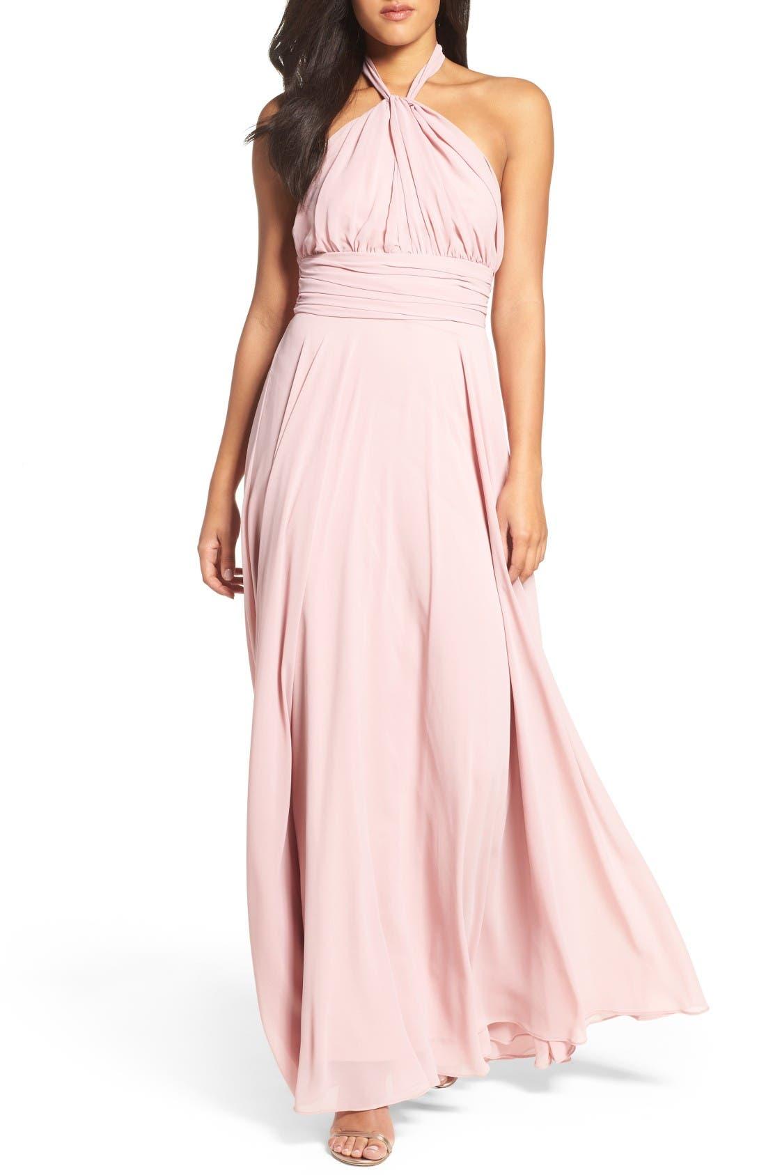 Chiffon Halter Gown,                         Main,                         color, Mauve