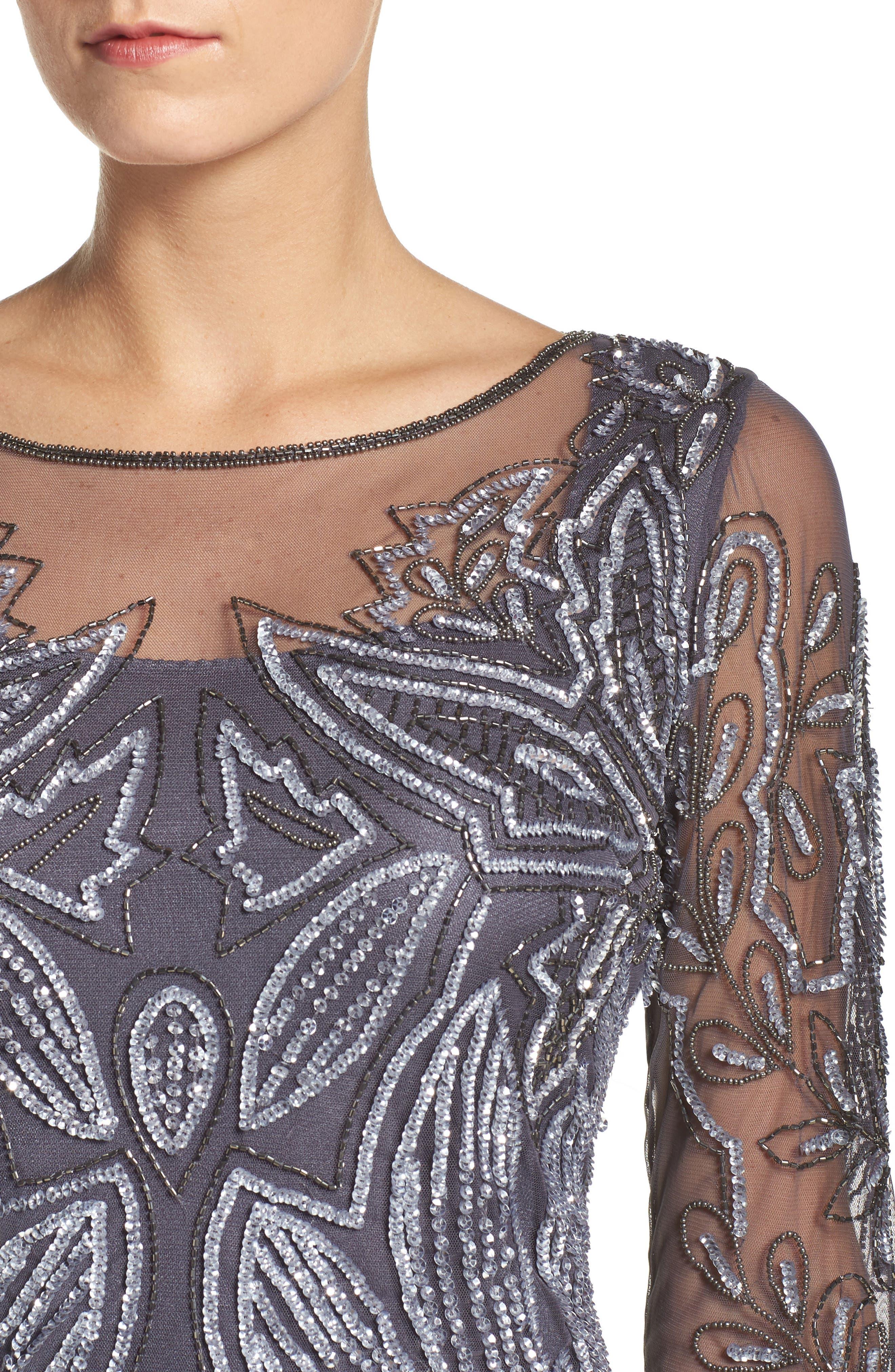 Embellished Mesh Gown,                             Alternate thumbnail 4, color,                             Slate