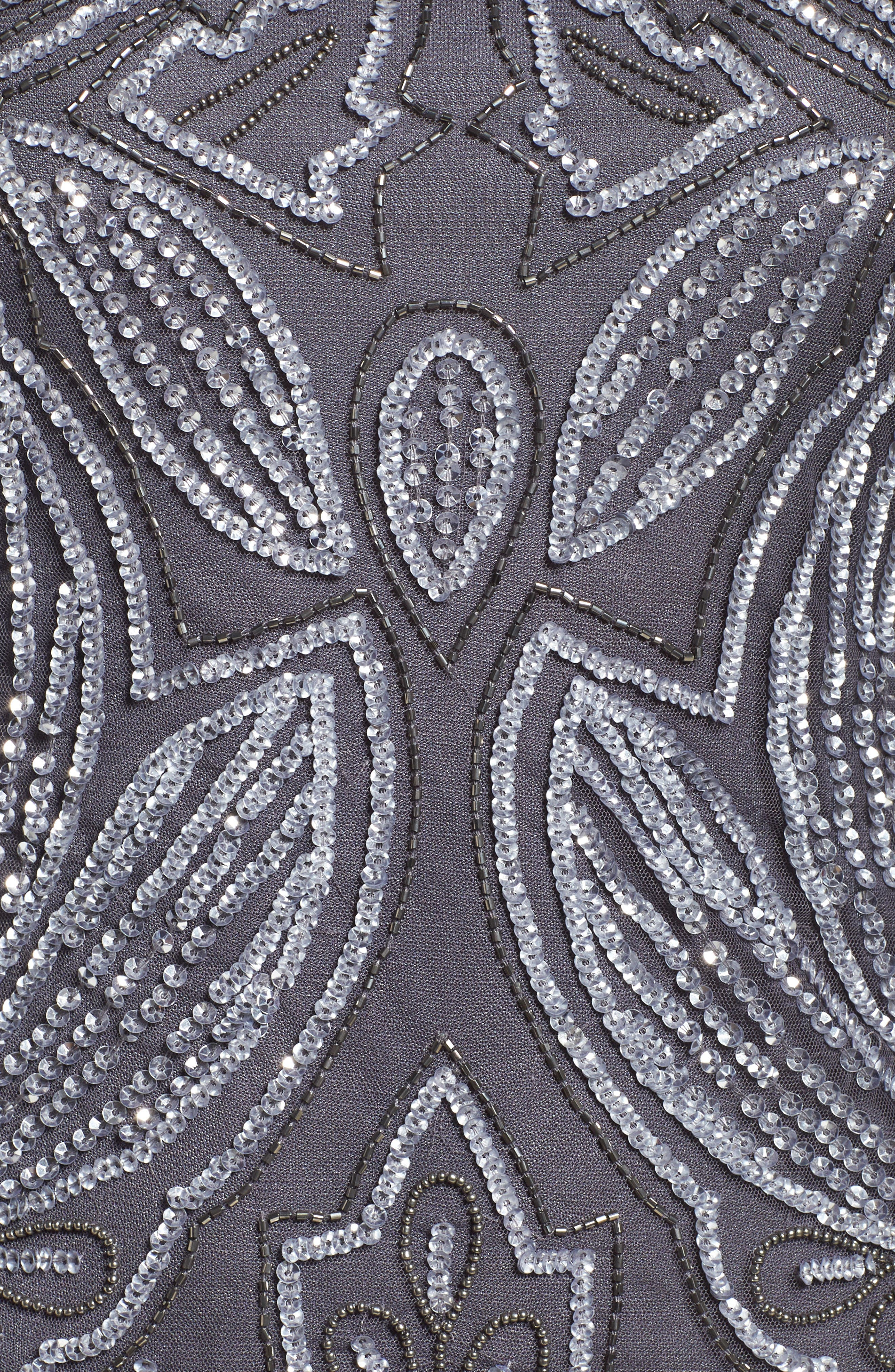 Embellished Mesh Gown,                             Alternate thumbnail 5, color,                             Slate