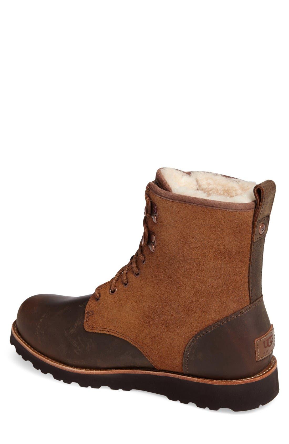 Alternate Image 2  - UGG® Hannen Plain Toe Waterproof Boot with Genuine Shearling (Men)