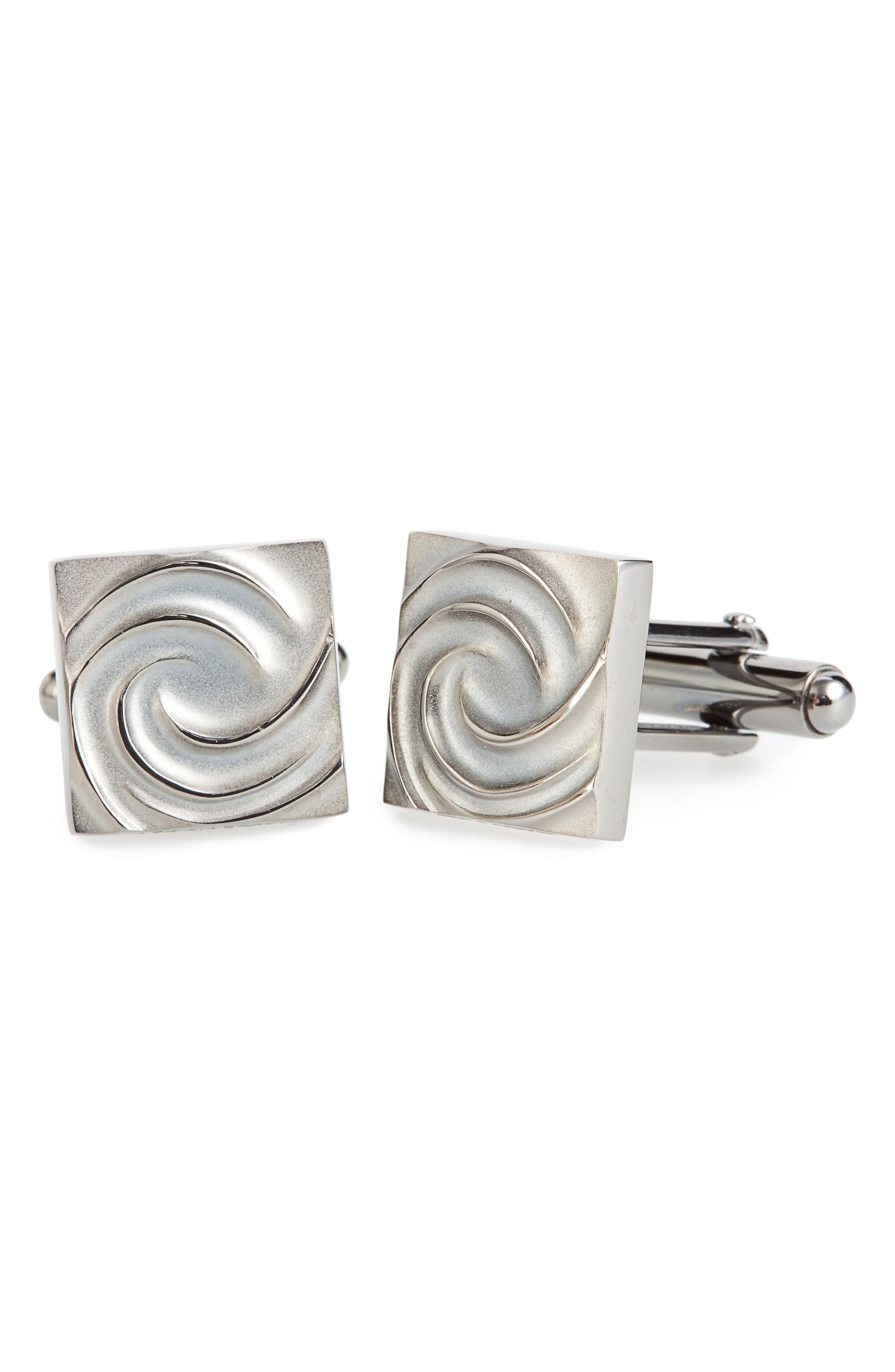 Swirl Square Cuff Links,                         Main,                         color, Silver