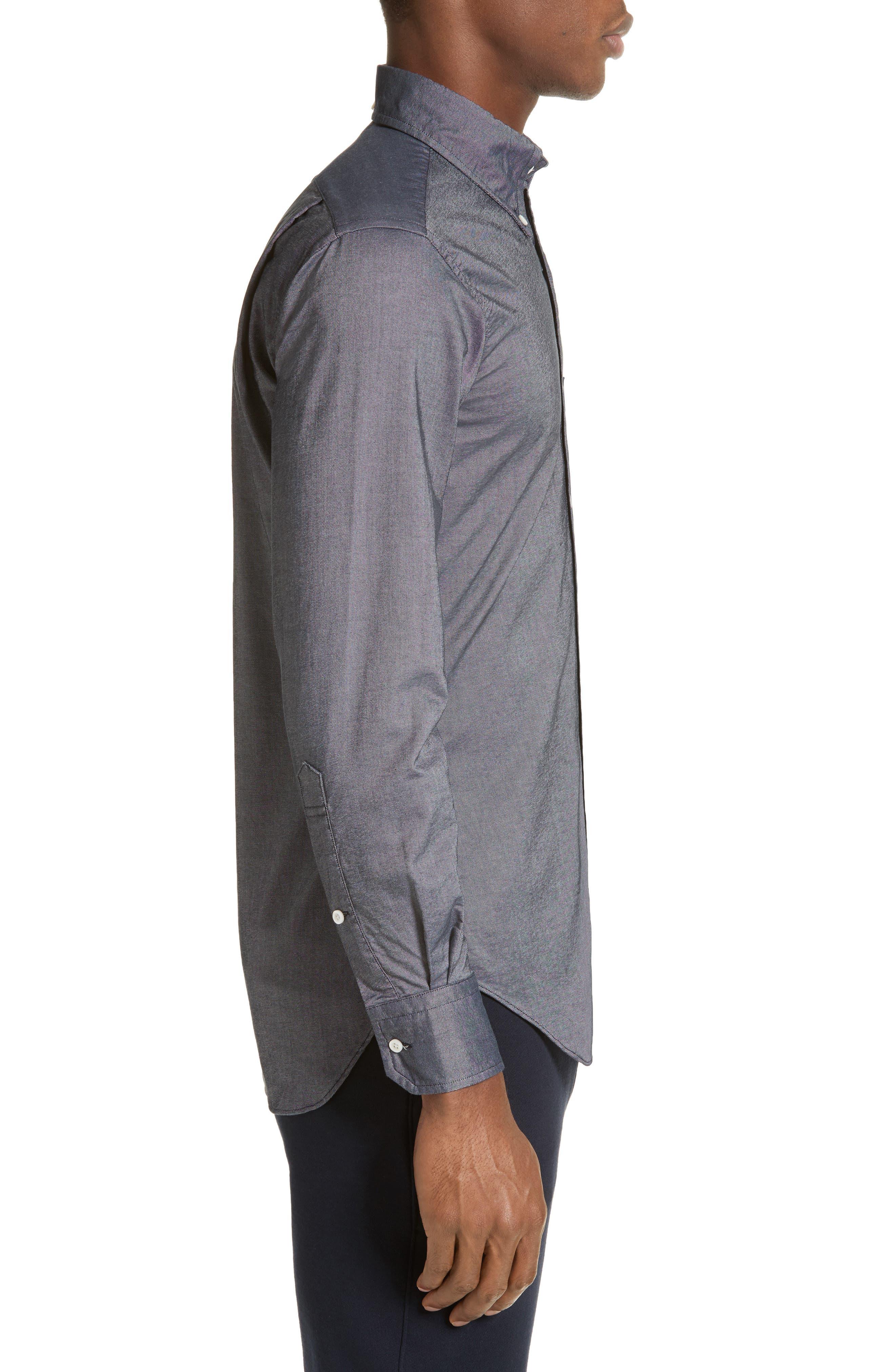 Trim Fit Classic 4-Bar Oxford Shirt,                             Alternate thumbnail 3, color,                             Dark Blue