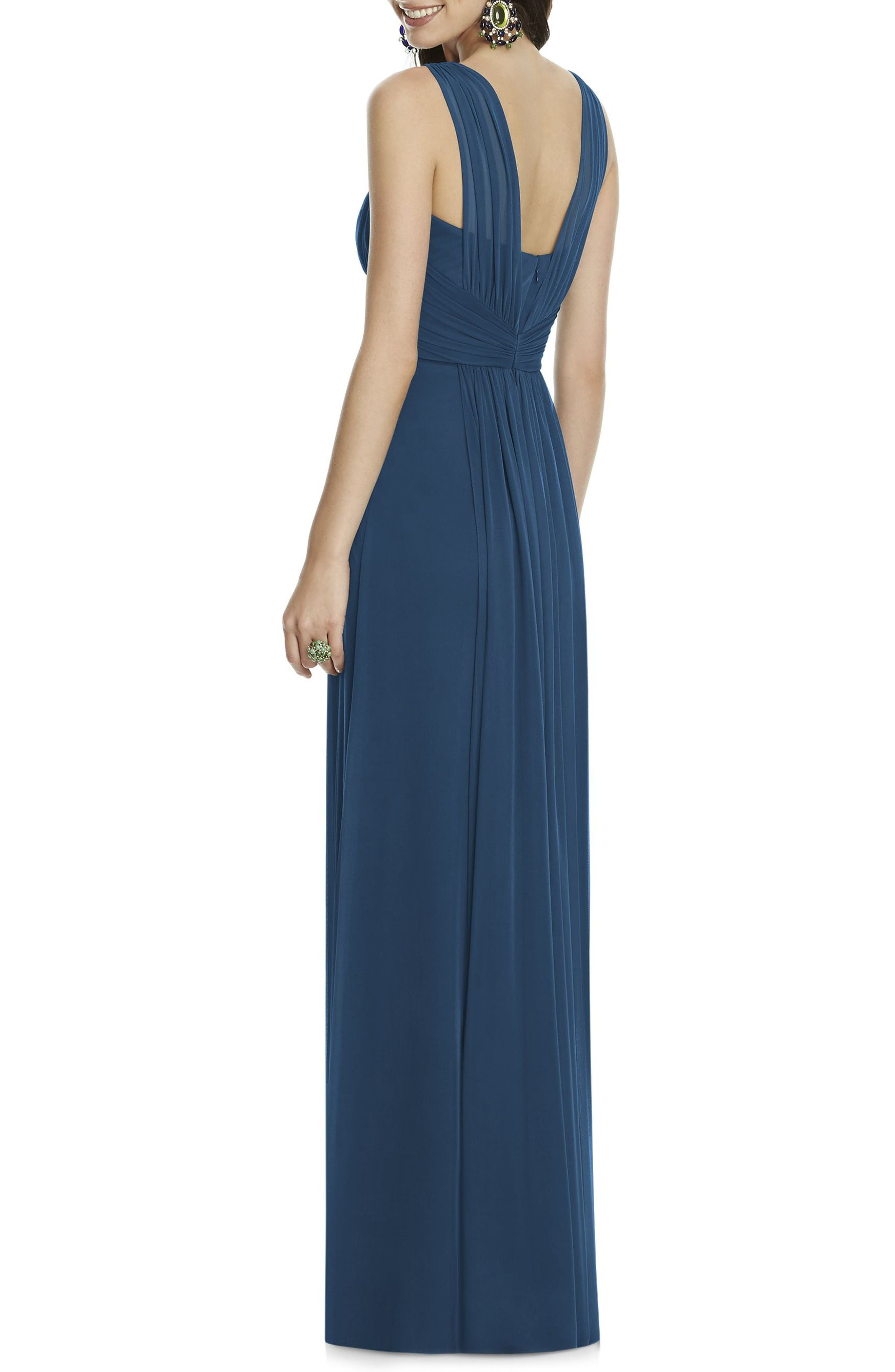 Alternate Image 2  - Alfred Sung Illusion Sleeve Chiffon Column Gown