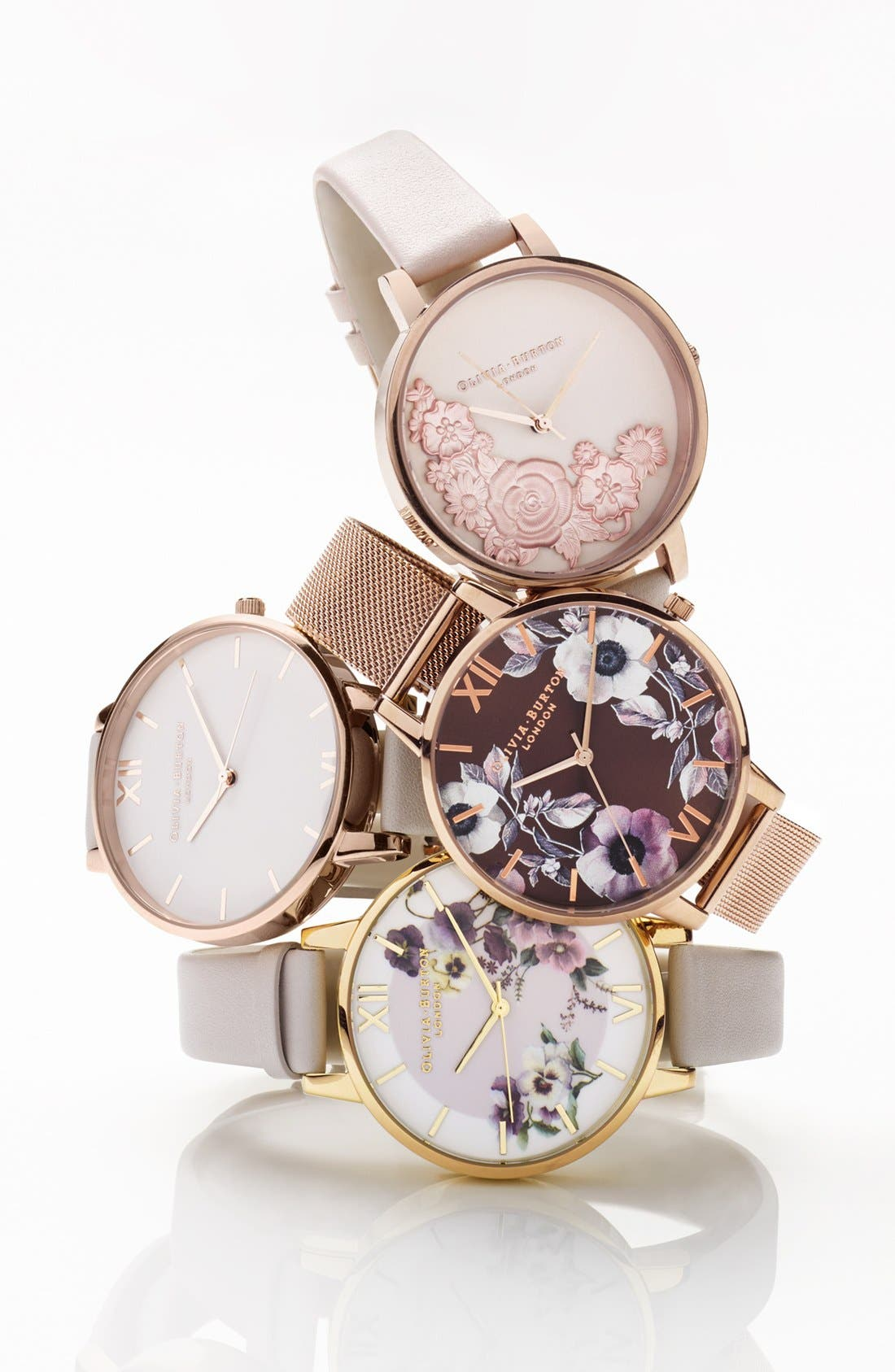 Alternate Image 2  - Olivia Burton Begin to Blush Leather Strap Watch, 38mm