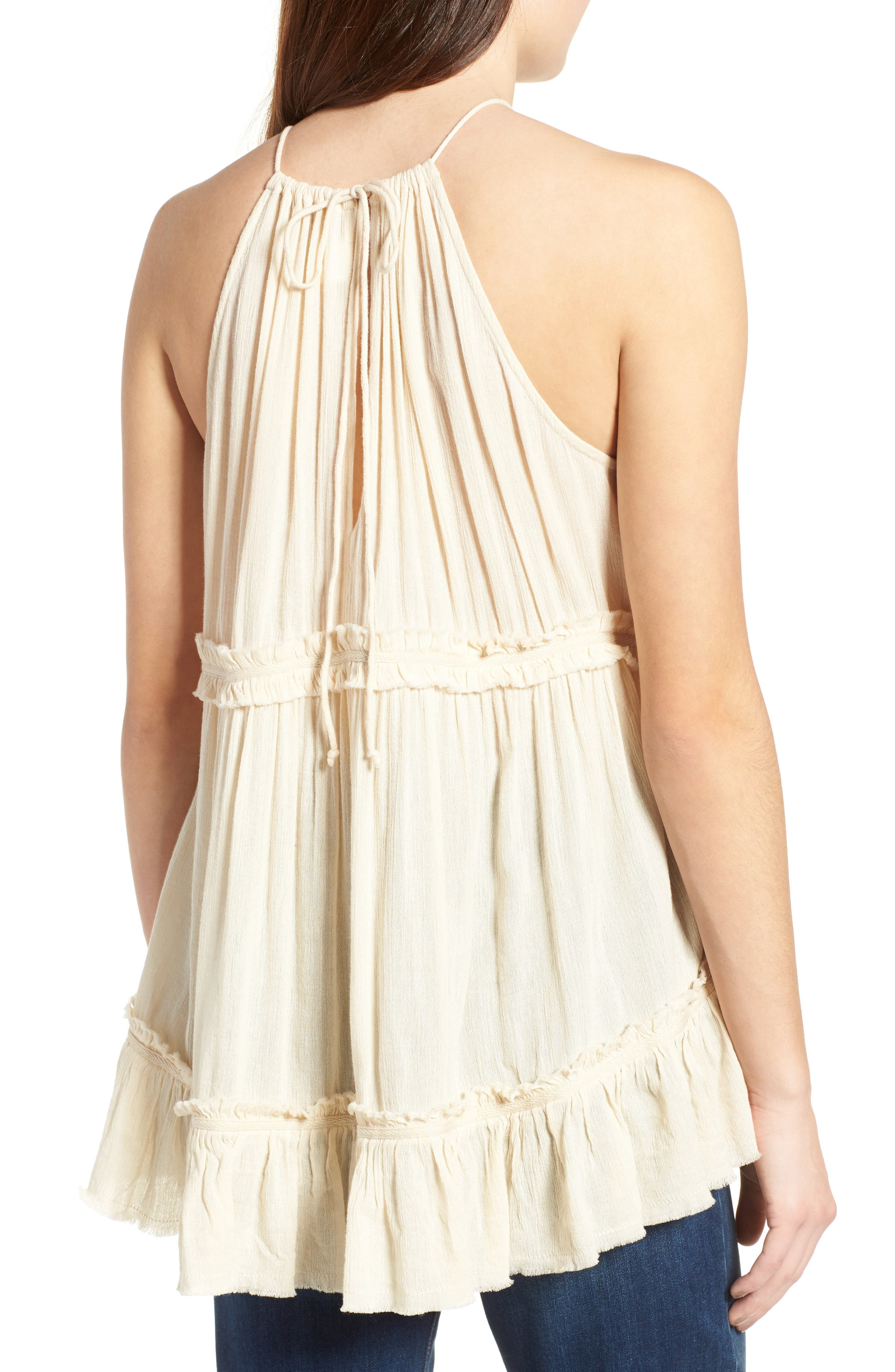 Tiered Gauze Tank,                             Alternate thumbnail 2, color,                             Beige Angora