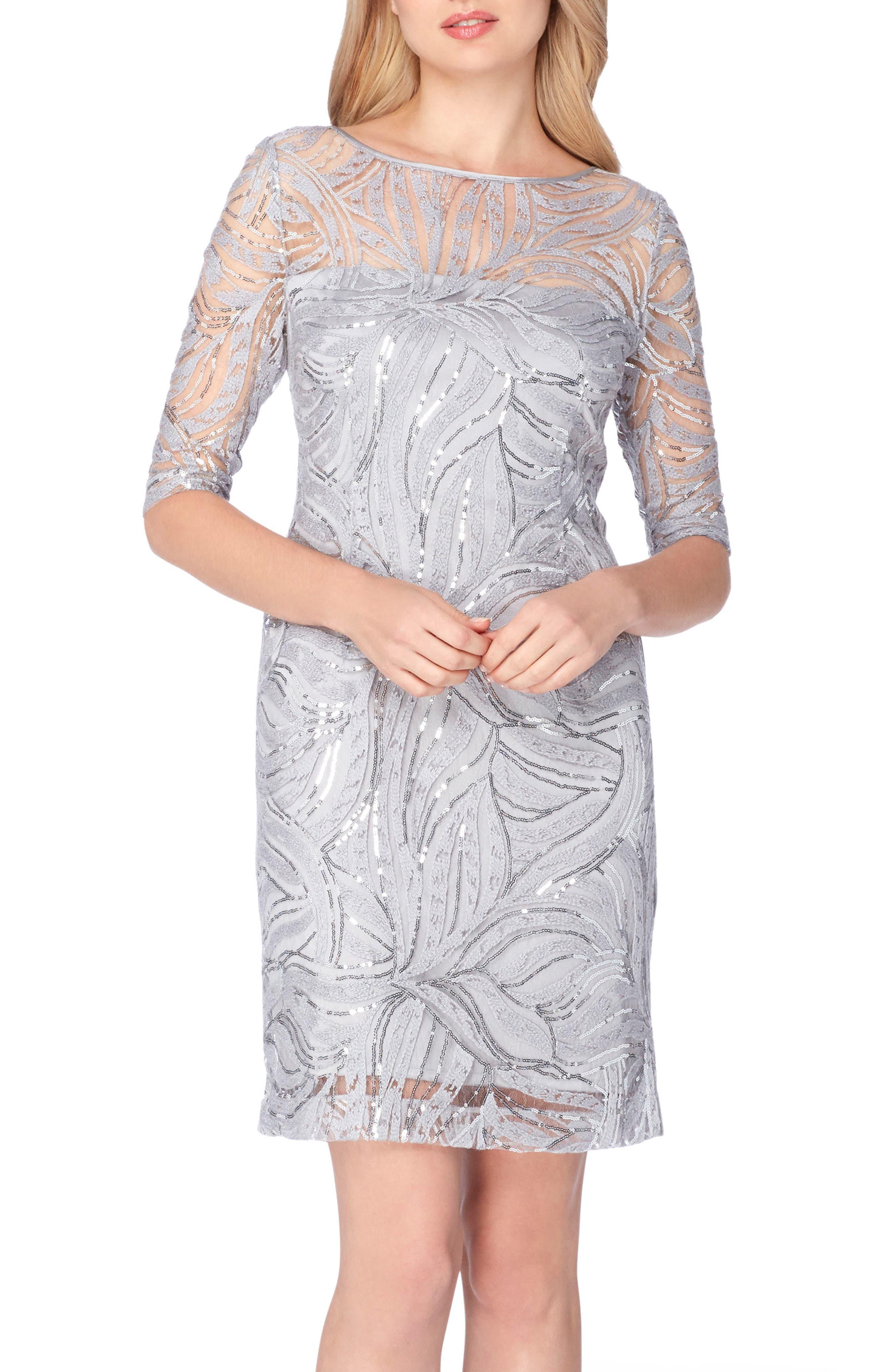Tahari Sequin Illusion Sheath Dress (Regular & Petite)