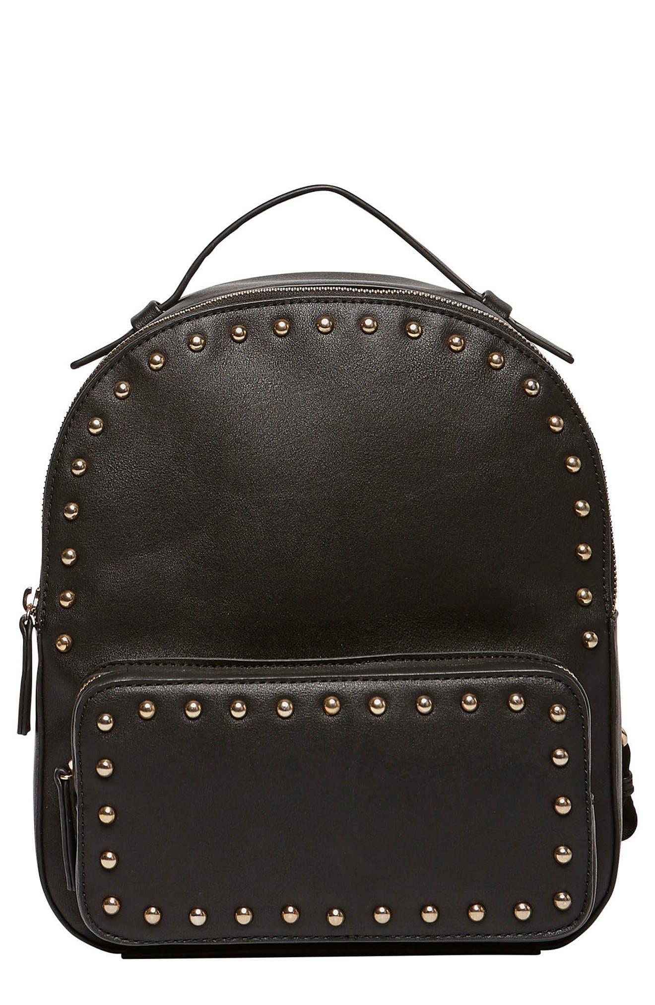 Star Seeker Vegan Leather Backpack,                             Main thumbnail 1, color,                             Black