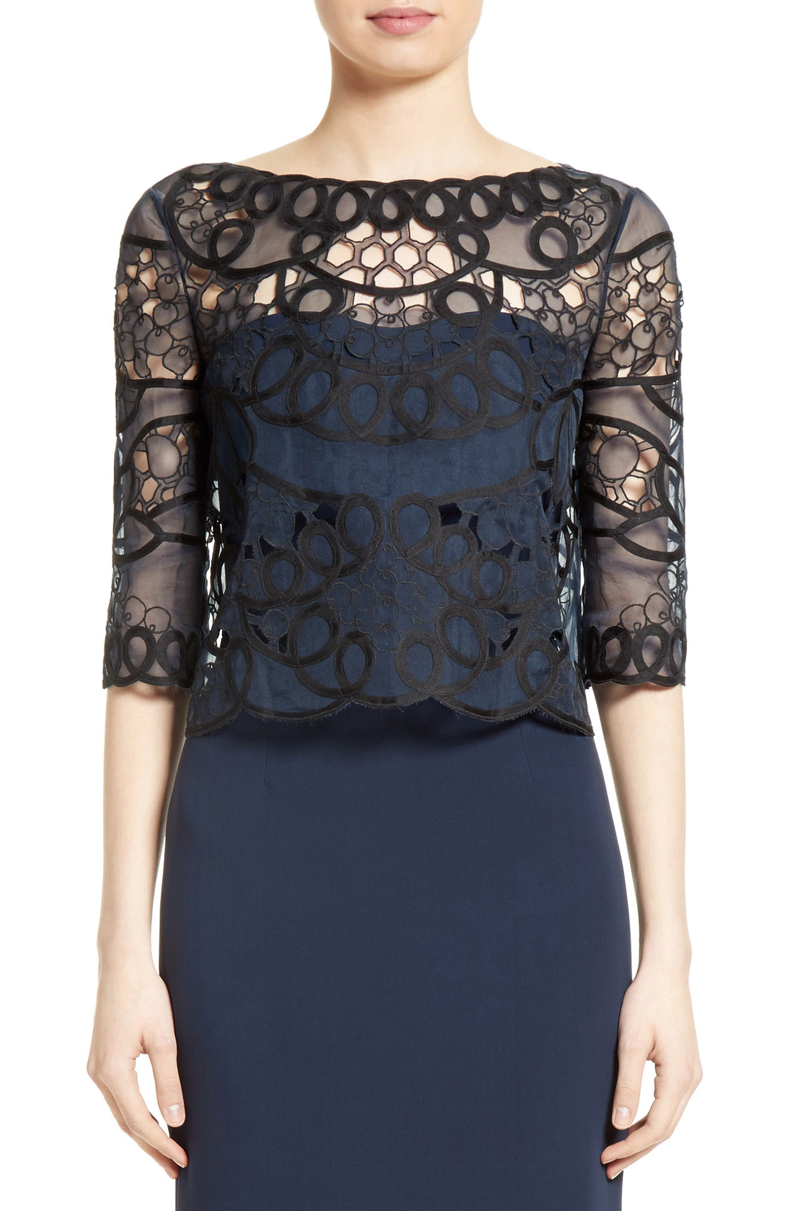 Reversible Lace Bolero,                         Main,                         color, Navy/ Black