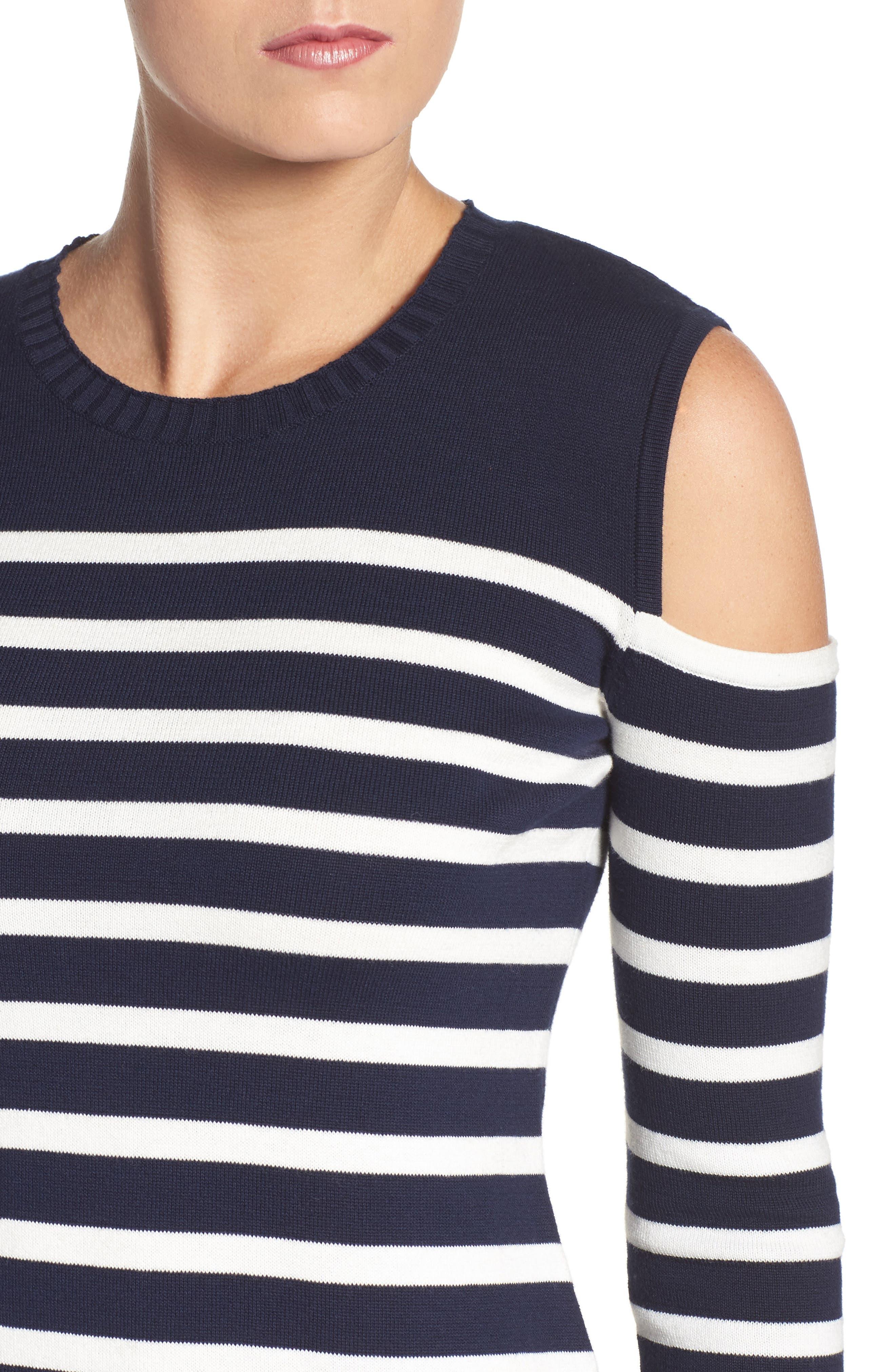 Trina Turk Tango Stripe Cotton Knit Dress,                             Alternate thumbnail 5, color,                             Whitewash/ Indigo