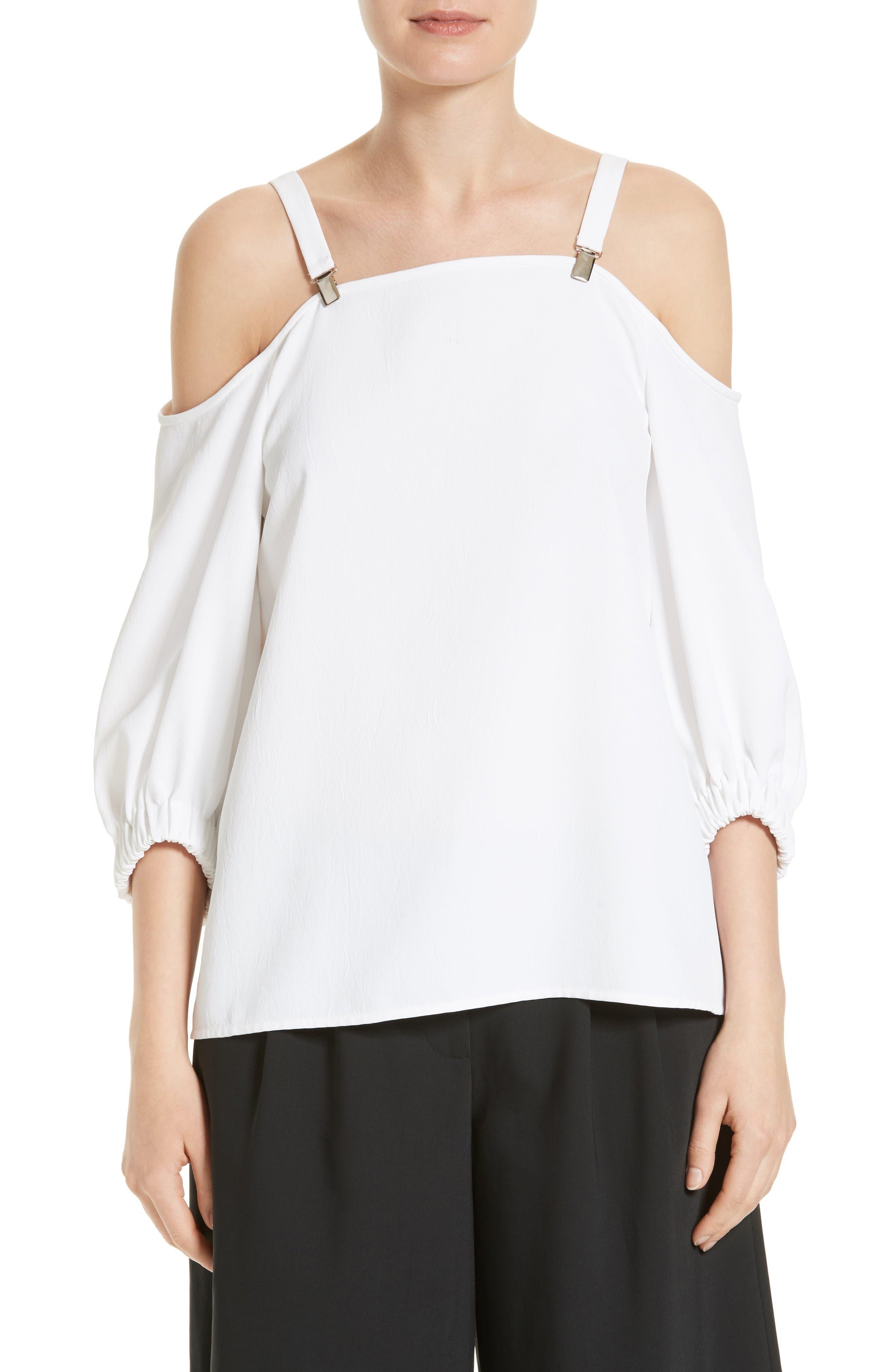Drape Twill Off the Shoulder Top,                         Main,                         color, White