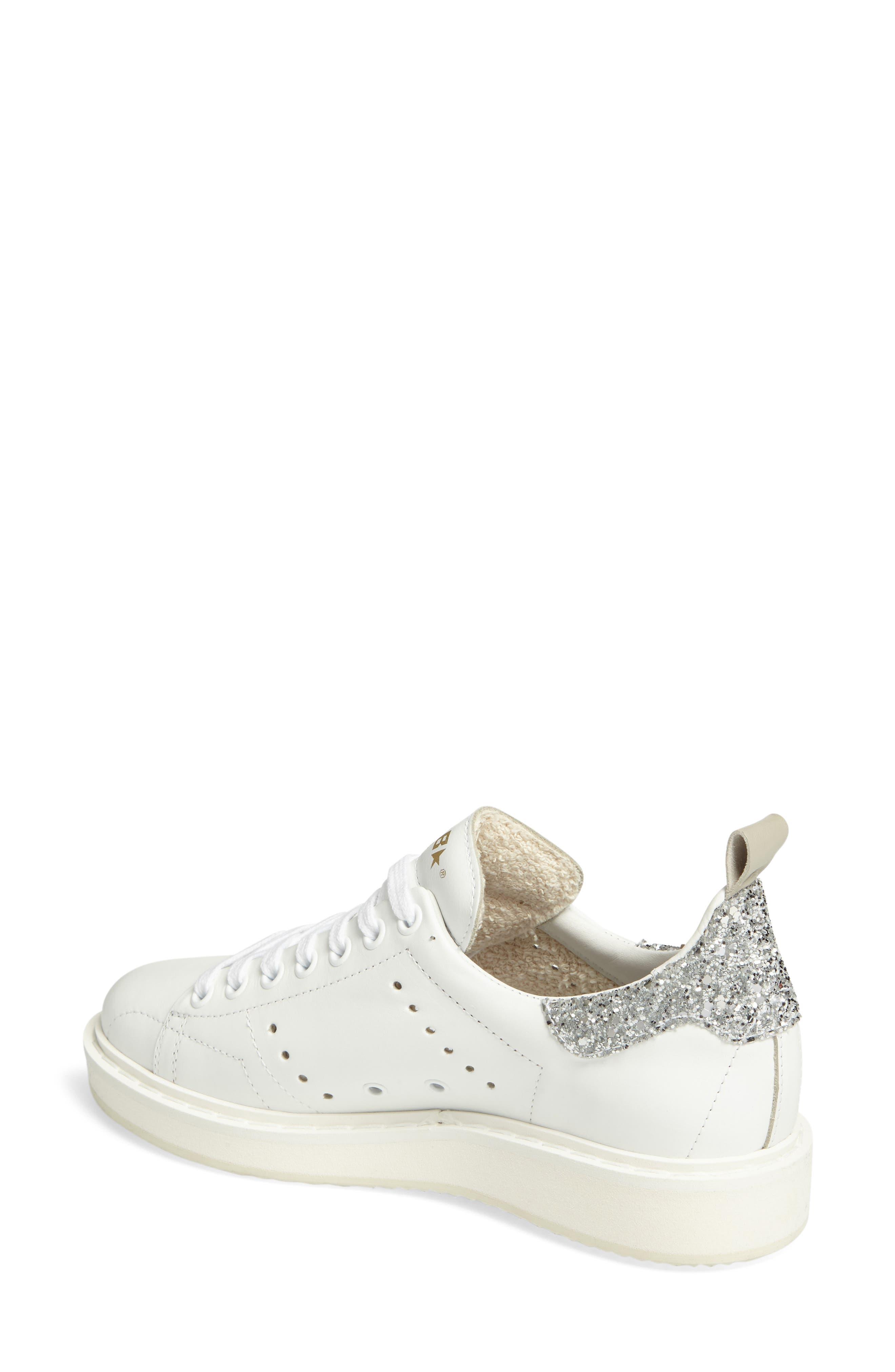 'Starter' Low Top Sneaker,                             Alternate thumbnail 2, color,                             White/ Silver Glitter