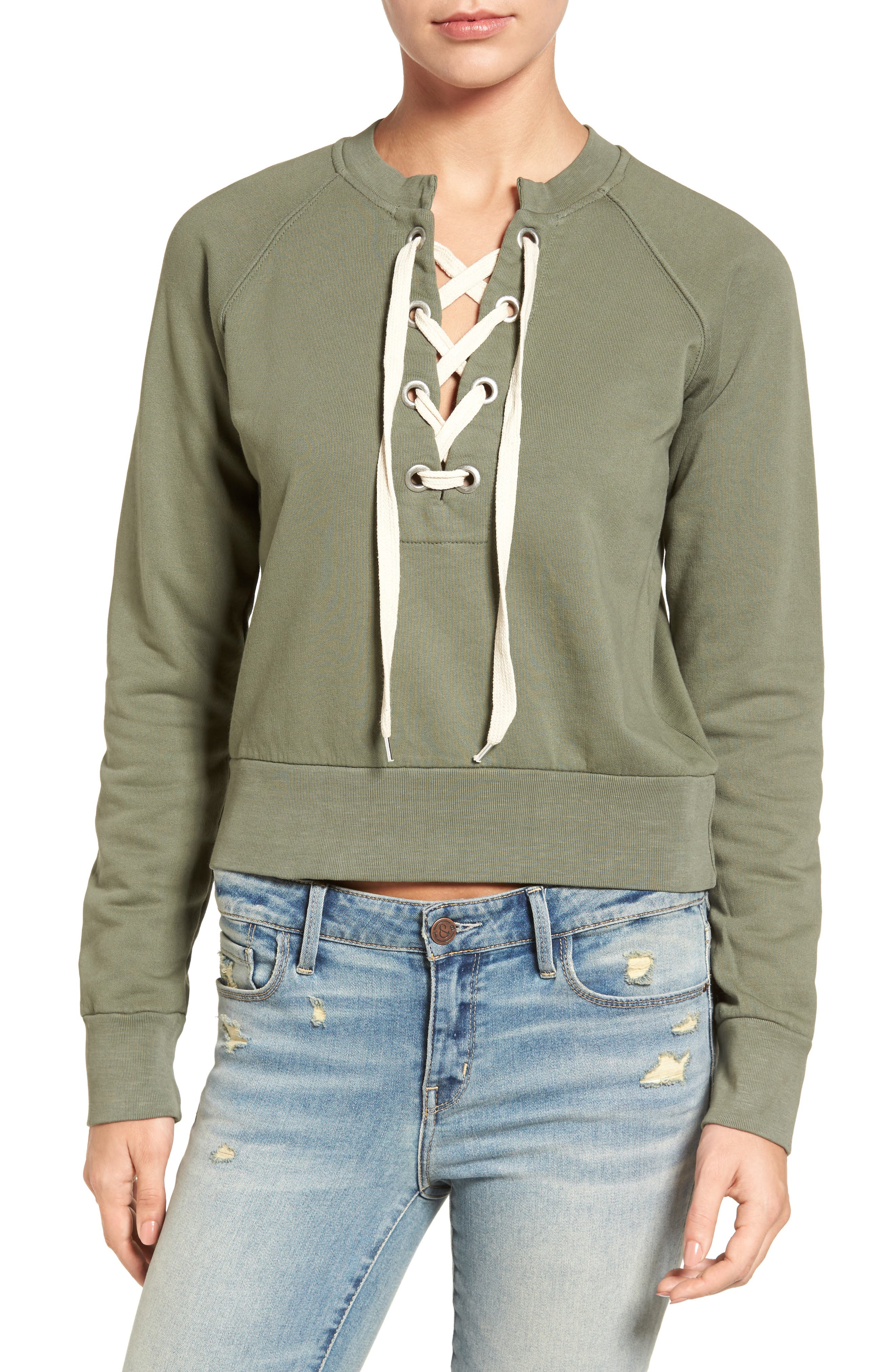 Main Image - Sincerely Jules Lace-Up Crop Sweatshirt
