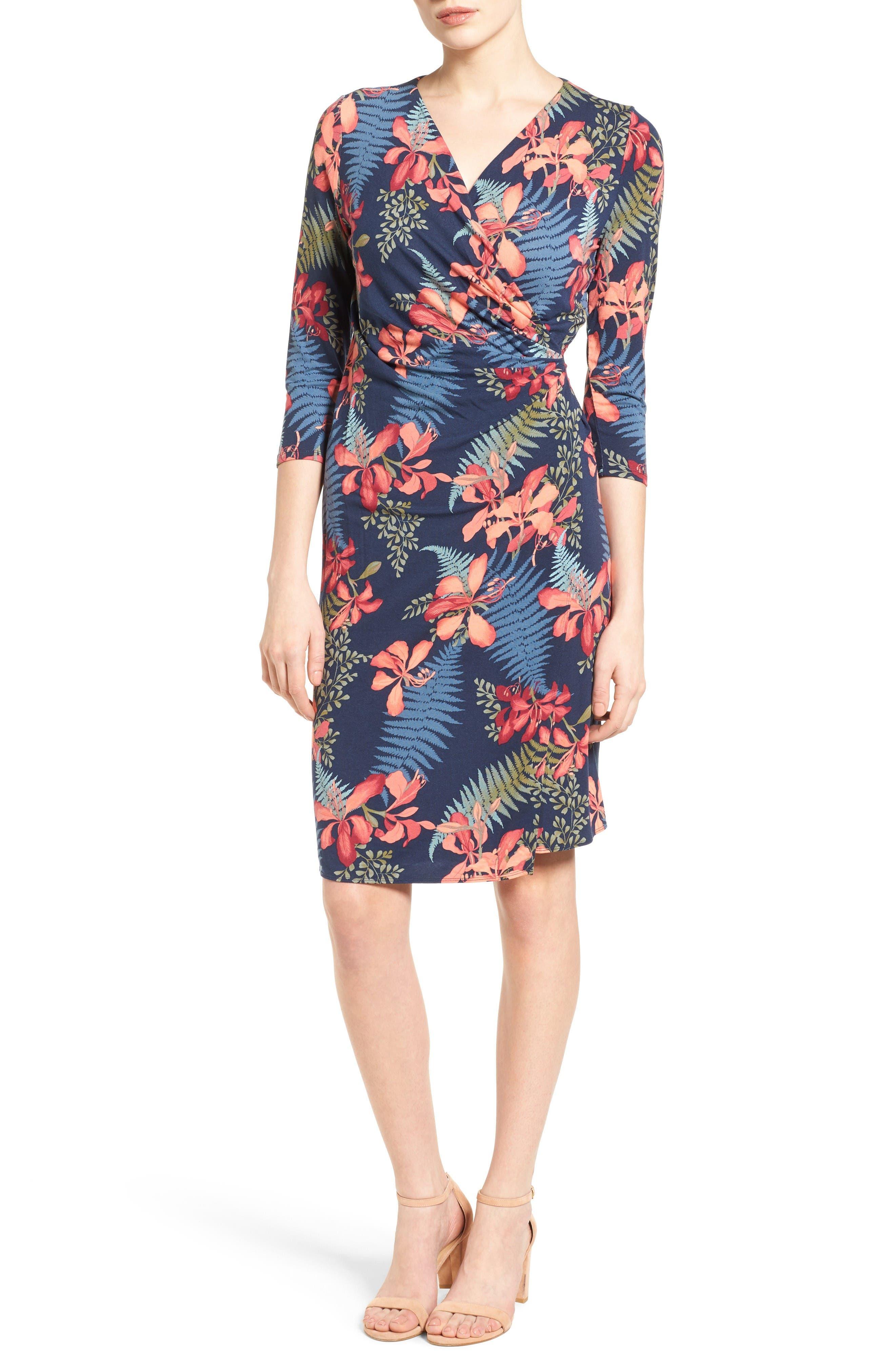 Sacred Groves Faux Wrap Dress,                         Main,                         color, Ocean Deep