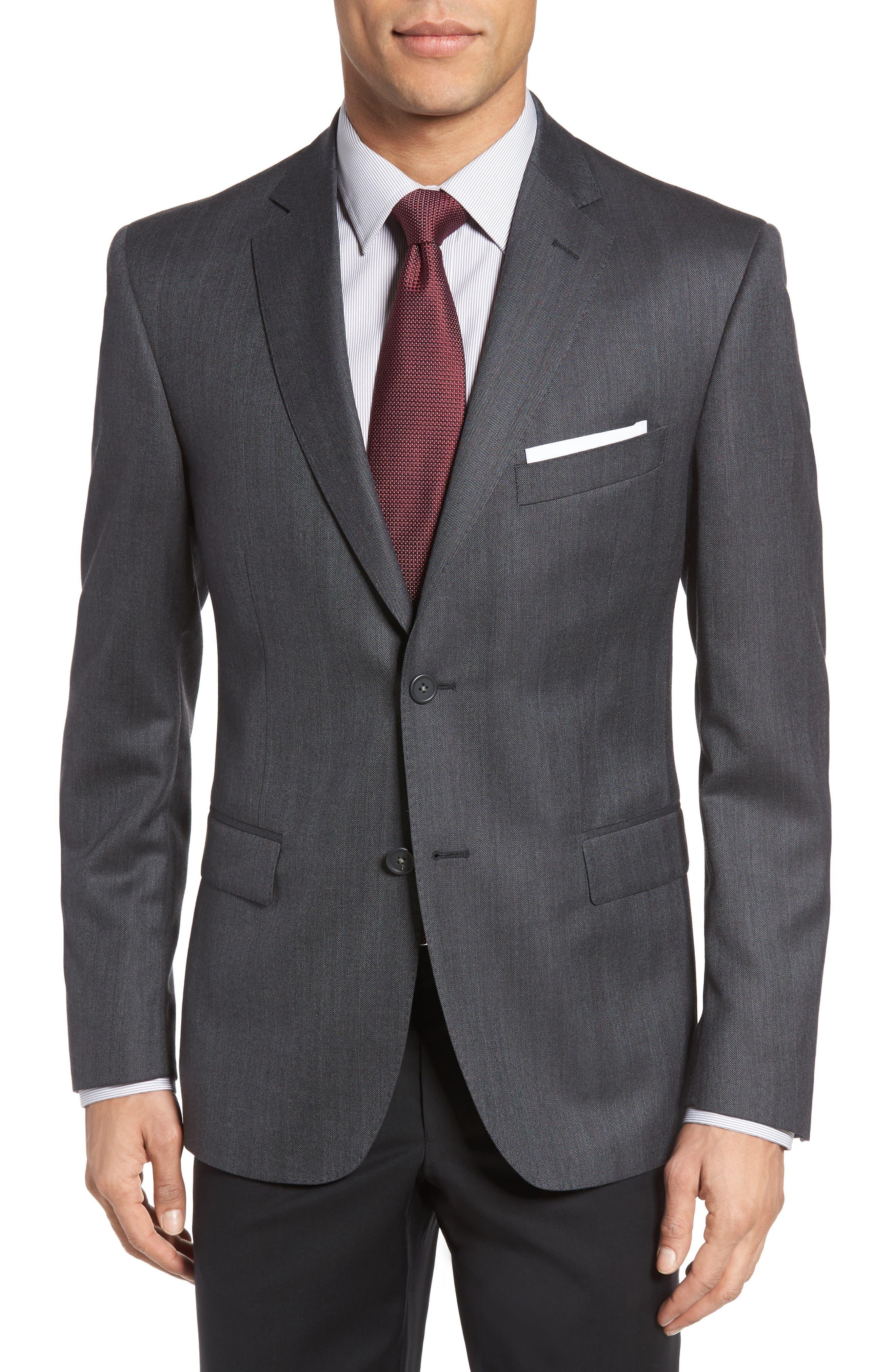 Classic Fit Herringbone Wool Sport Coat,                         Main,                         color, Charcoal