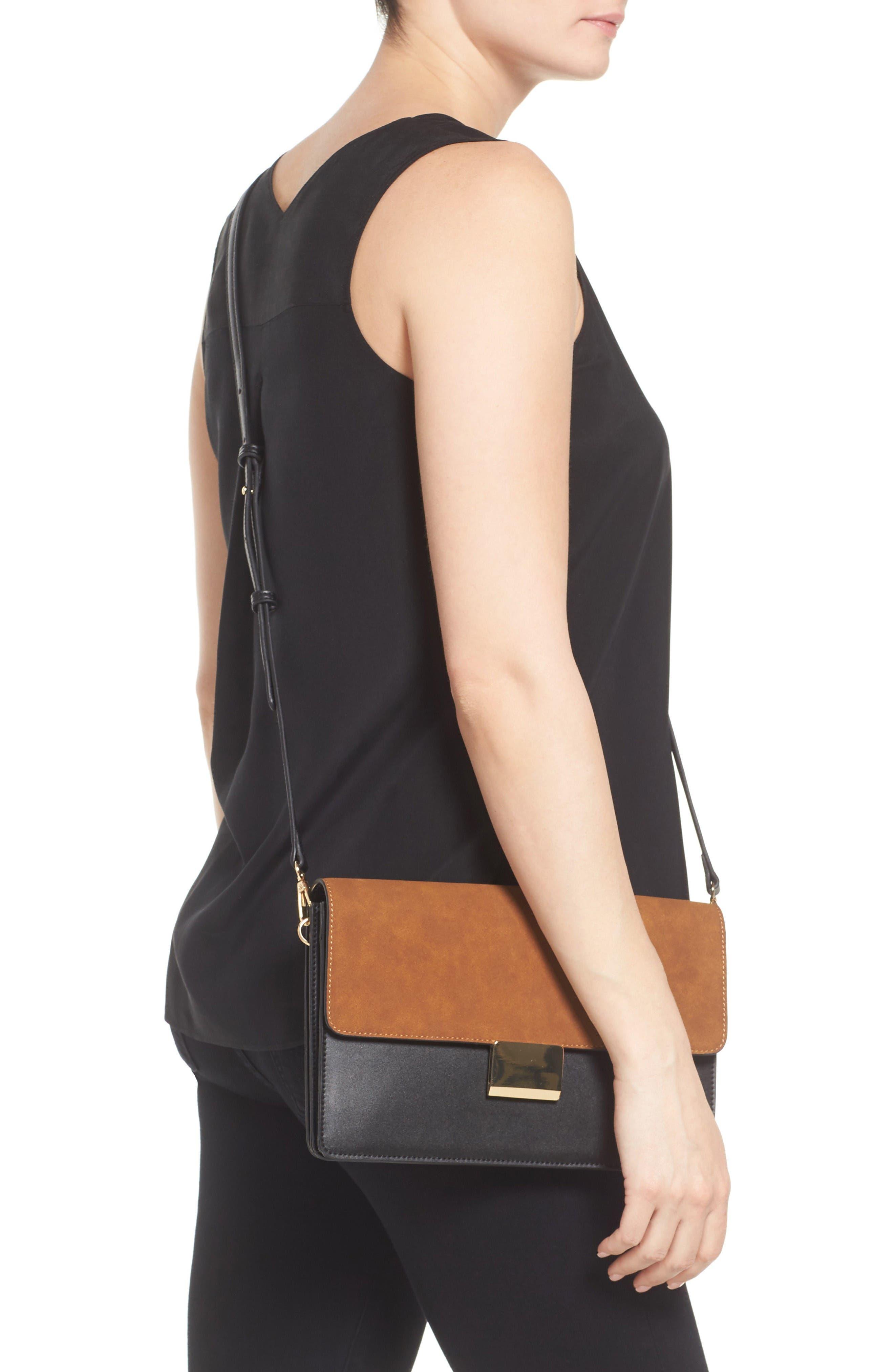 Leighton Colorblock Faux Leather Crossbody Bag,                             Alternate thumbnail 2, color,                             Black/Cognac