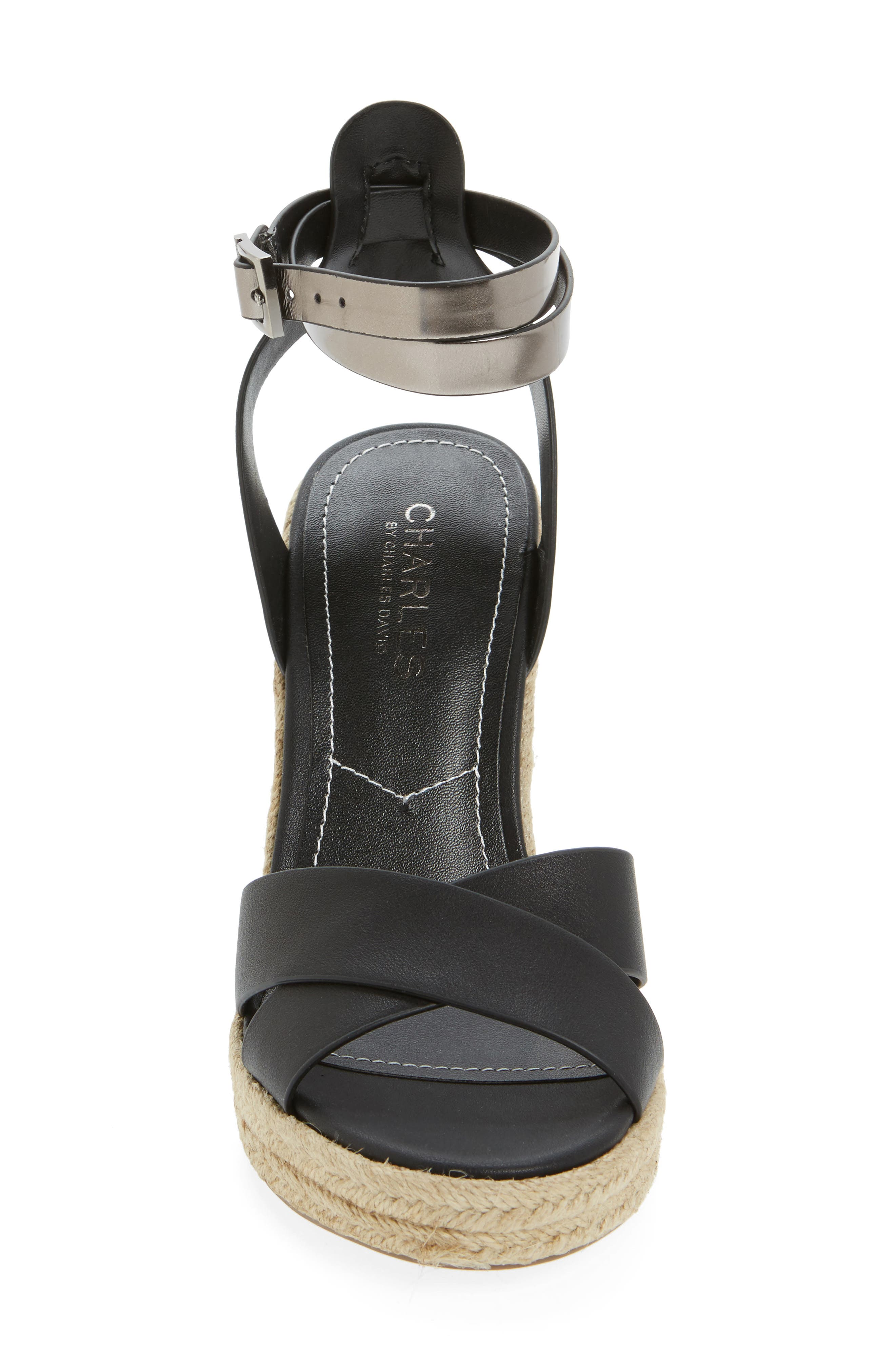Brit Wedge Platform Sandal,                             Alternate thumbnail 3, color,                             Black/ Gunmetal