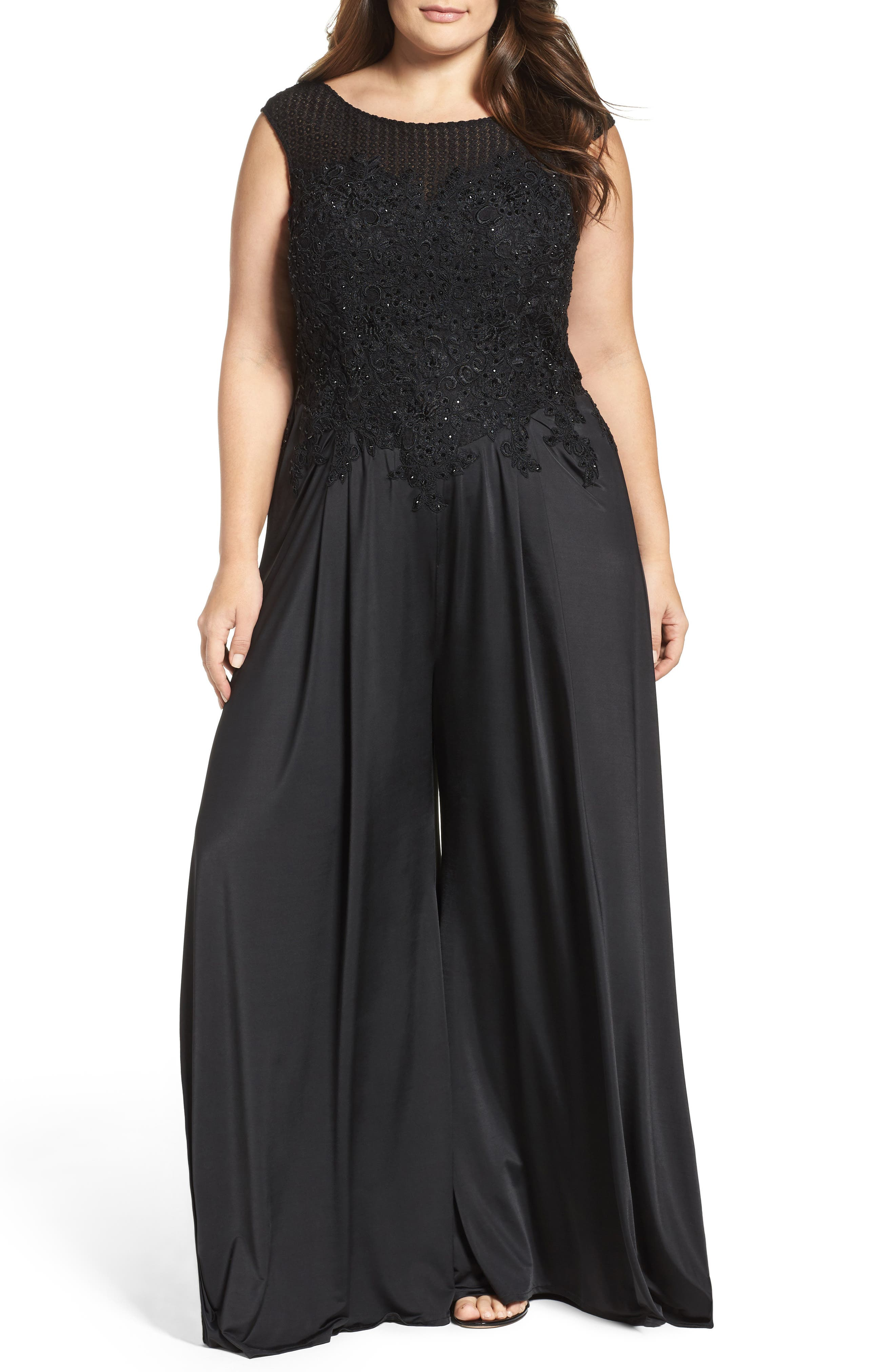 Mac Duggal Lace Appliqué Jumpsuit (Plus Size)