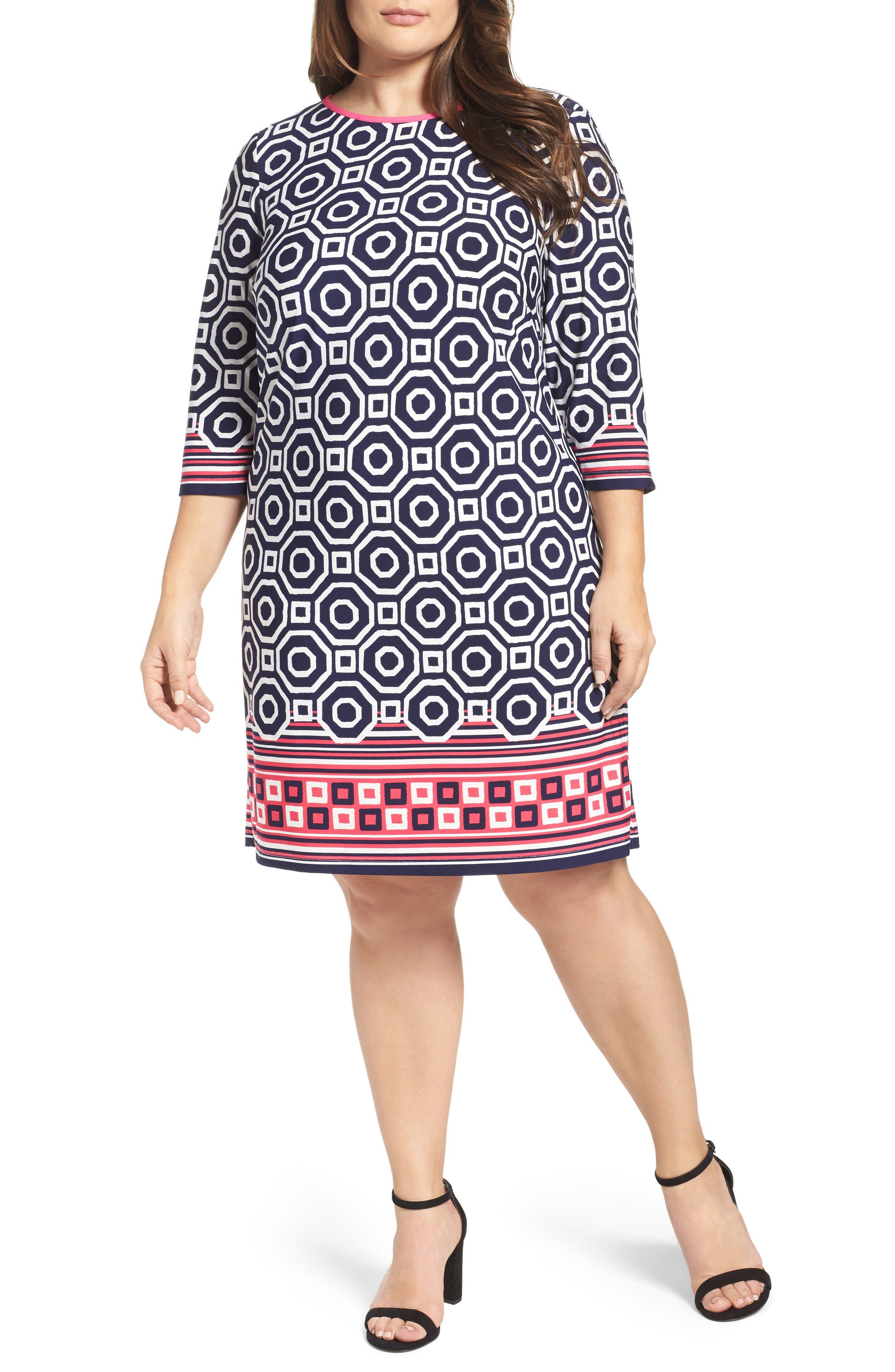 Main Image - Eliza J Border Print Shift Dress (Plus Size)