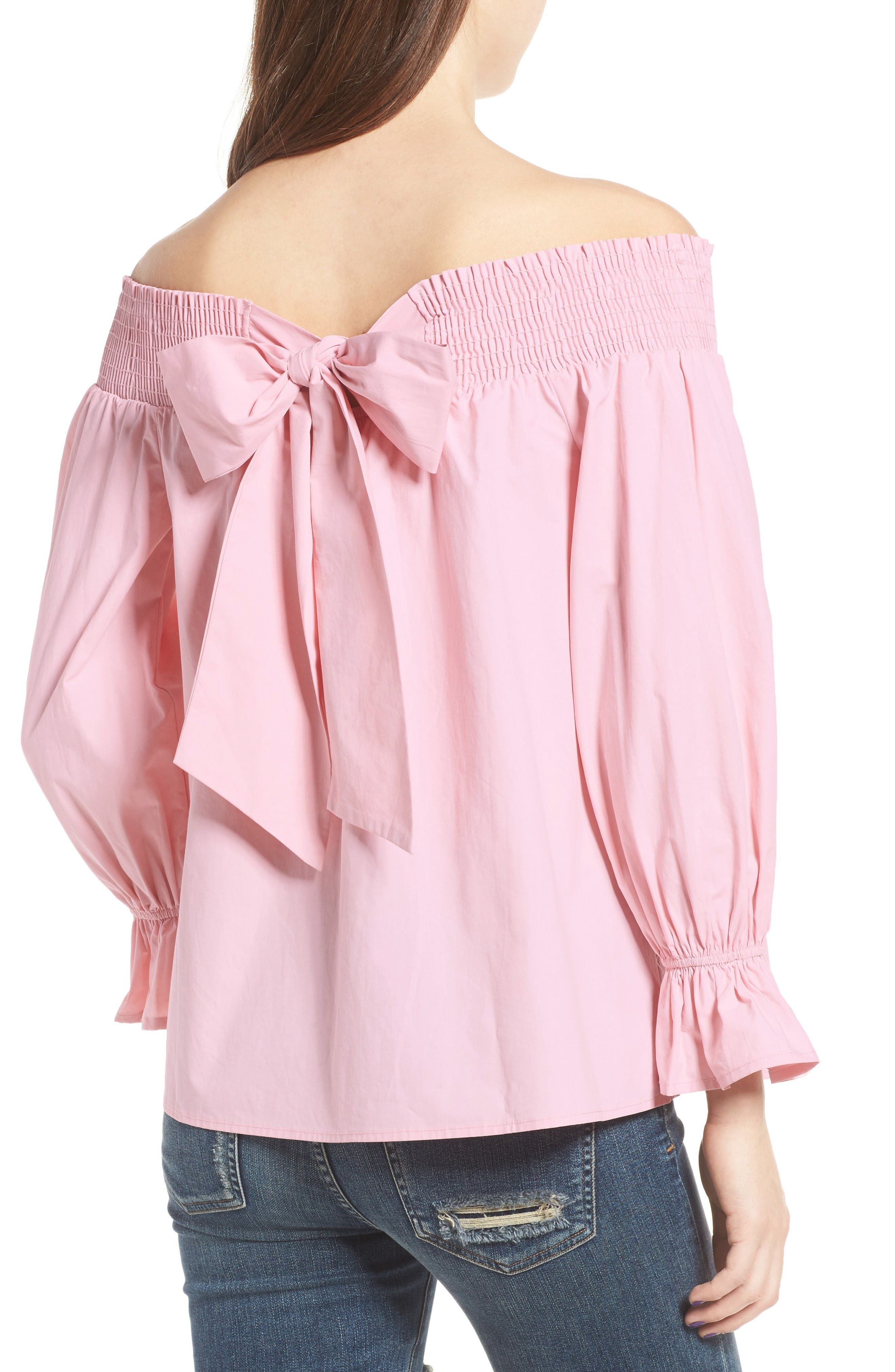 Bow Off-the-Shoulder Top,                             Alternate thumbnail 2, color,                             Blush