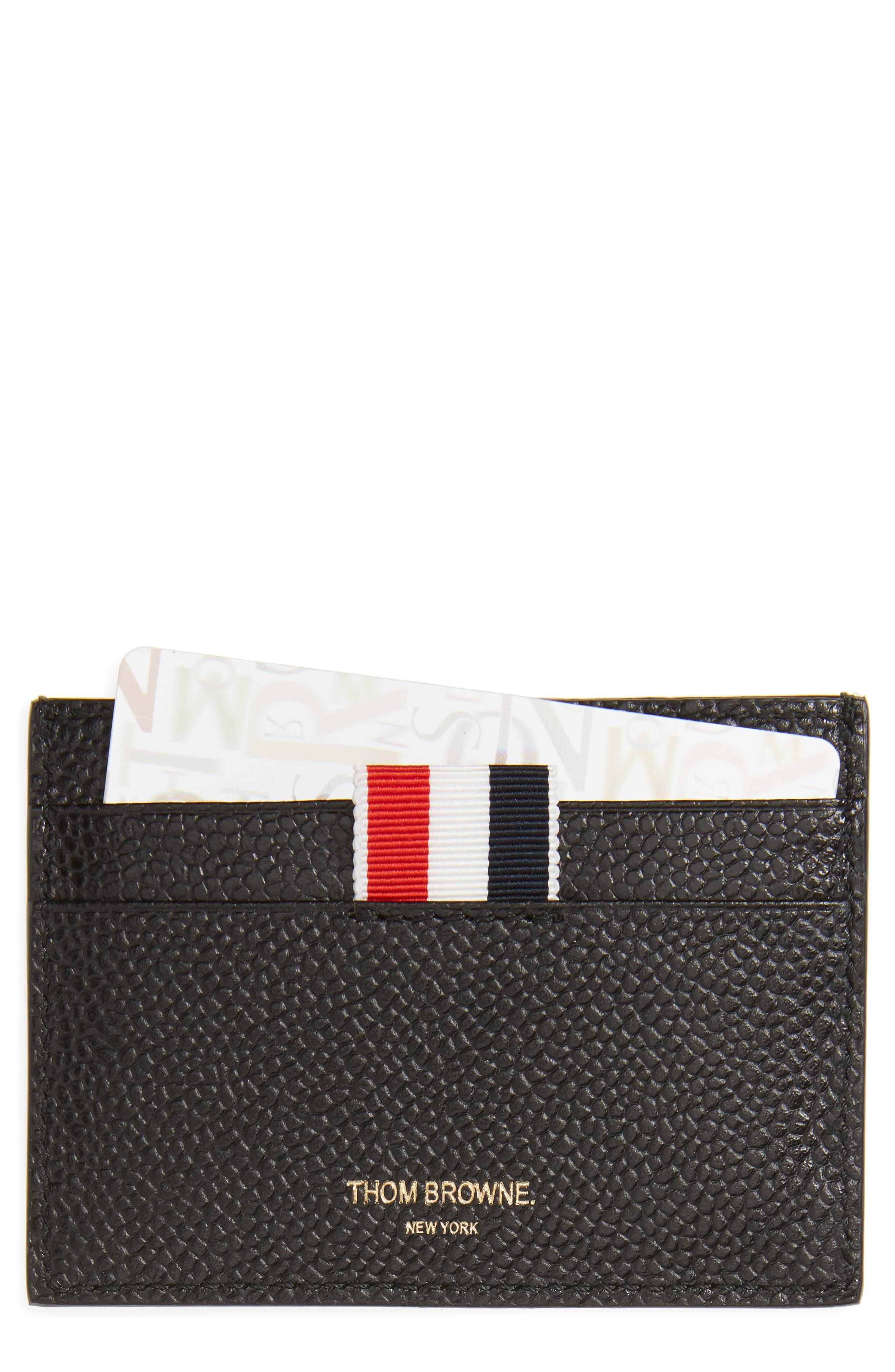 Diagonal Stripe Leather Card Case,                         Main,                         color, Black
