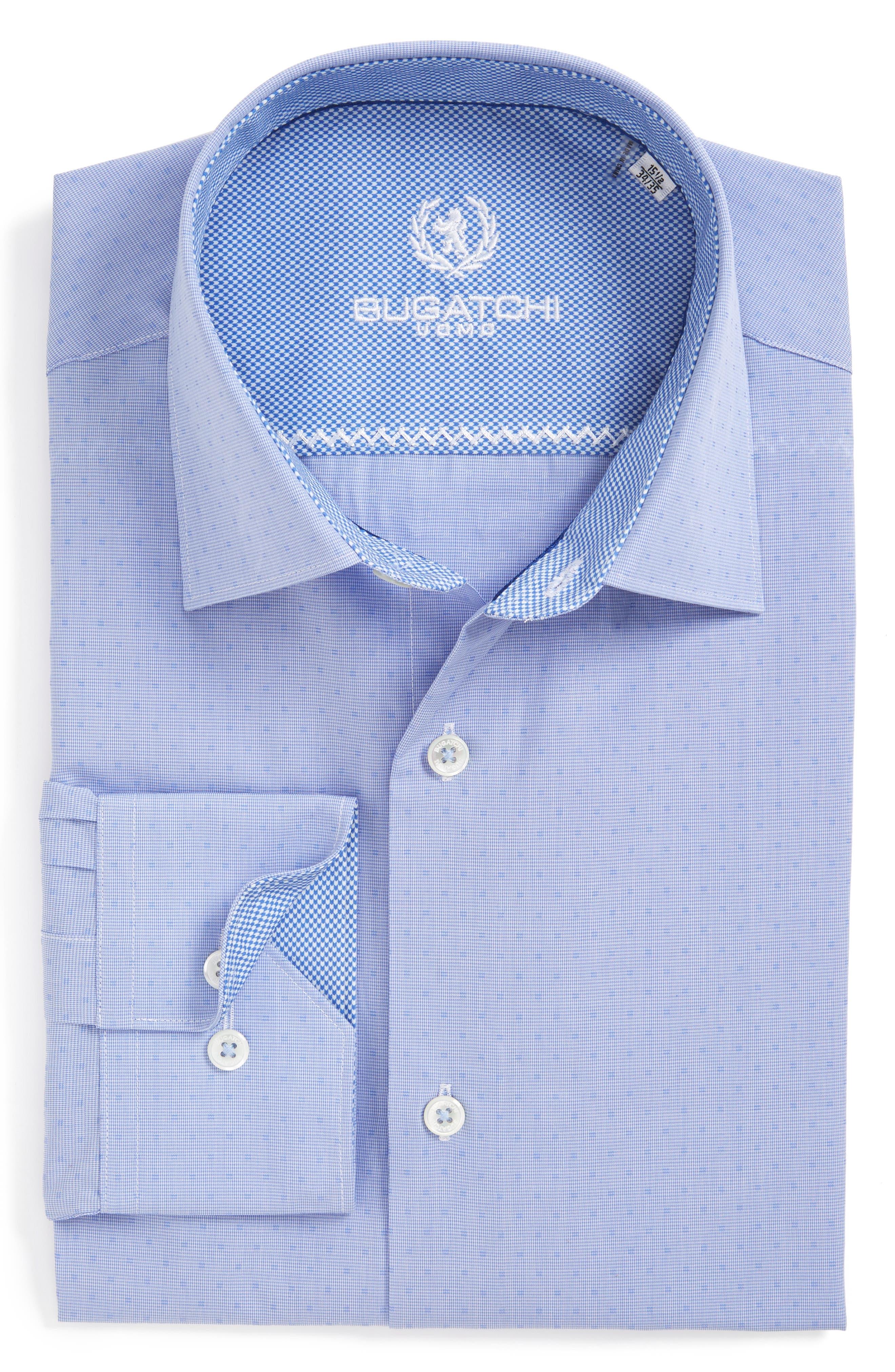 Trim Fit Dot Dress Shirt,                         Main,                         color, Classic Blue