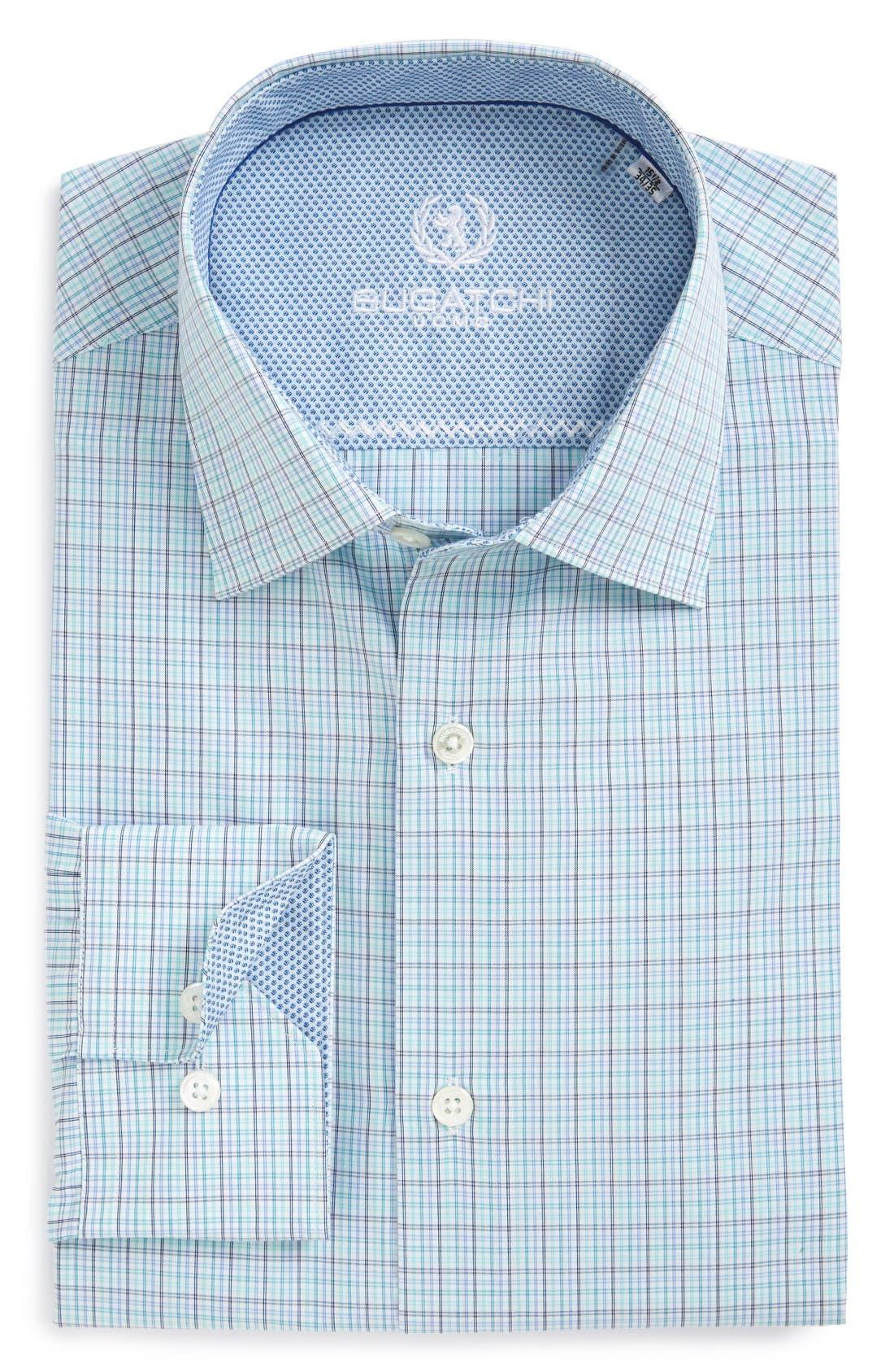 Main Image - Bugatchi Trim Fit Check Dress Shirt