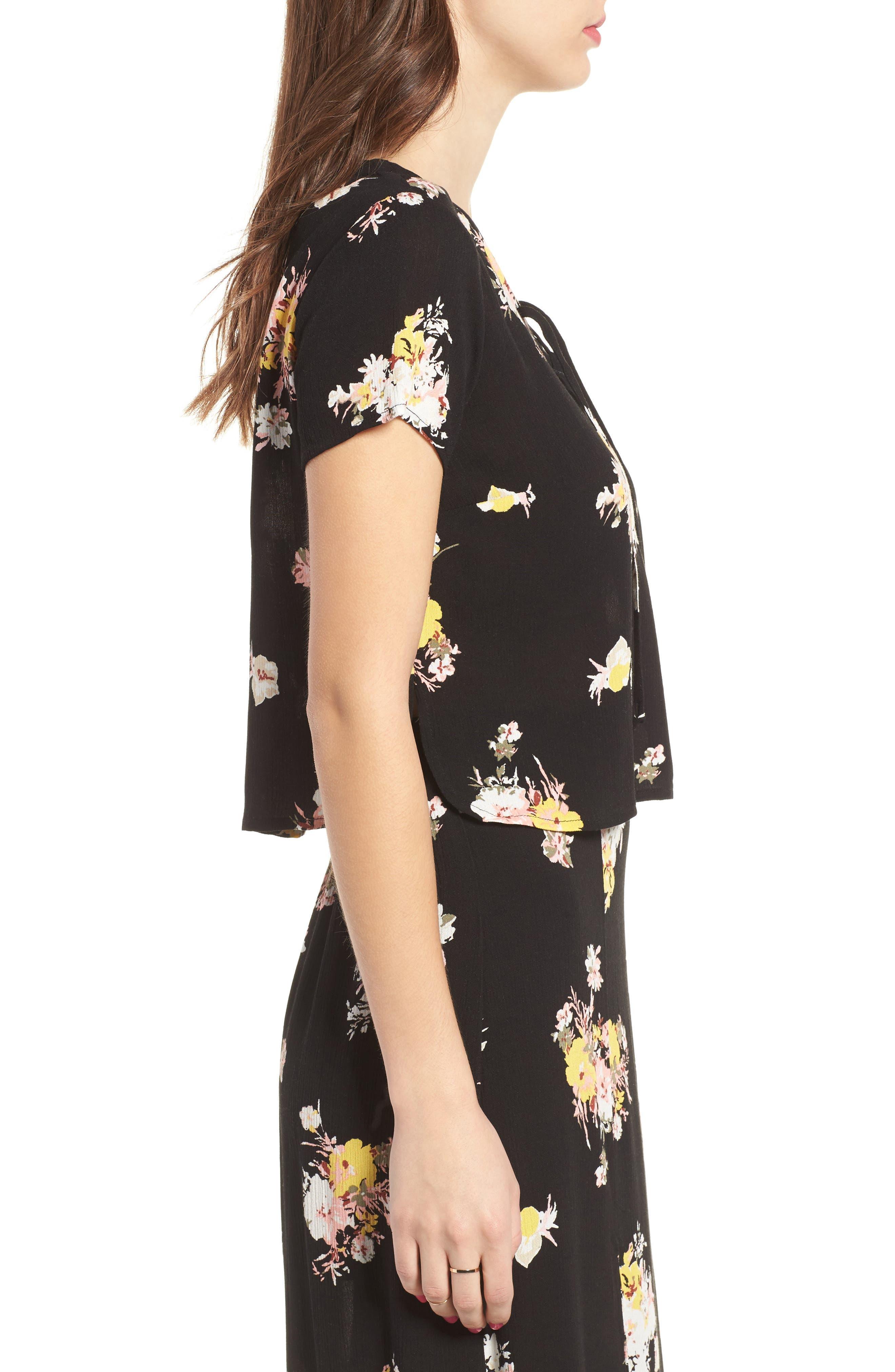 Coordinating Lace-Up Crop Top,                             Alternate thumbnail 4, color,                             Black Blush Floral