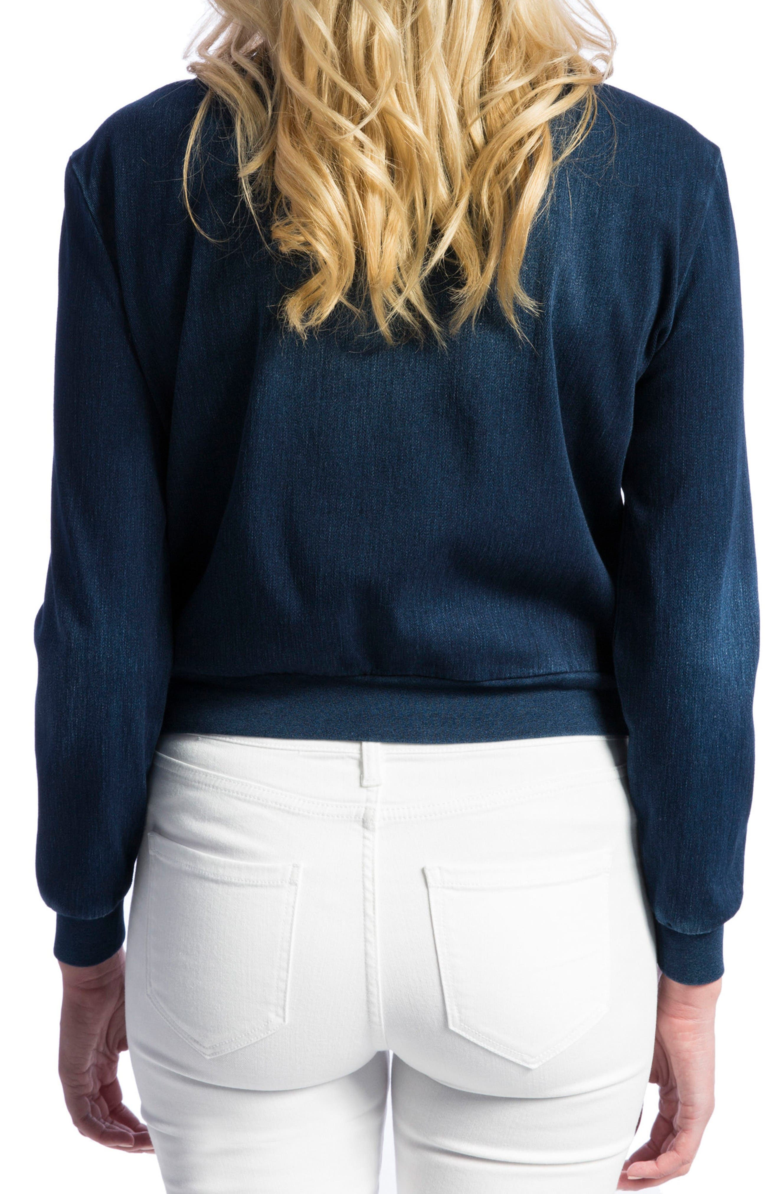 Alternate Image 2  - Liverpool Jeans Company Denim Knit Bomber Jacket