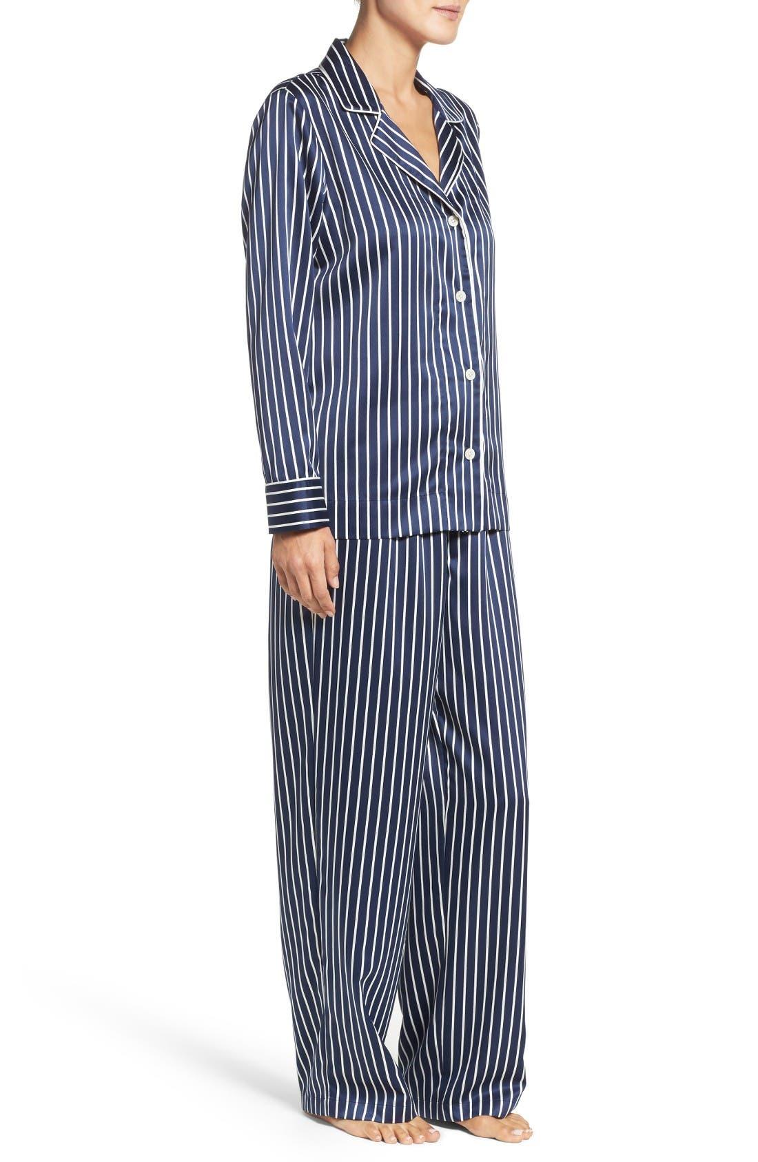 Alternate Image 3  - Lauren Ralph Lauren Stripe Satin Pajamas