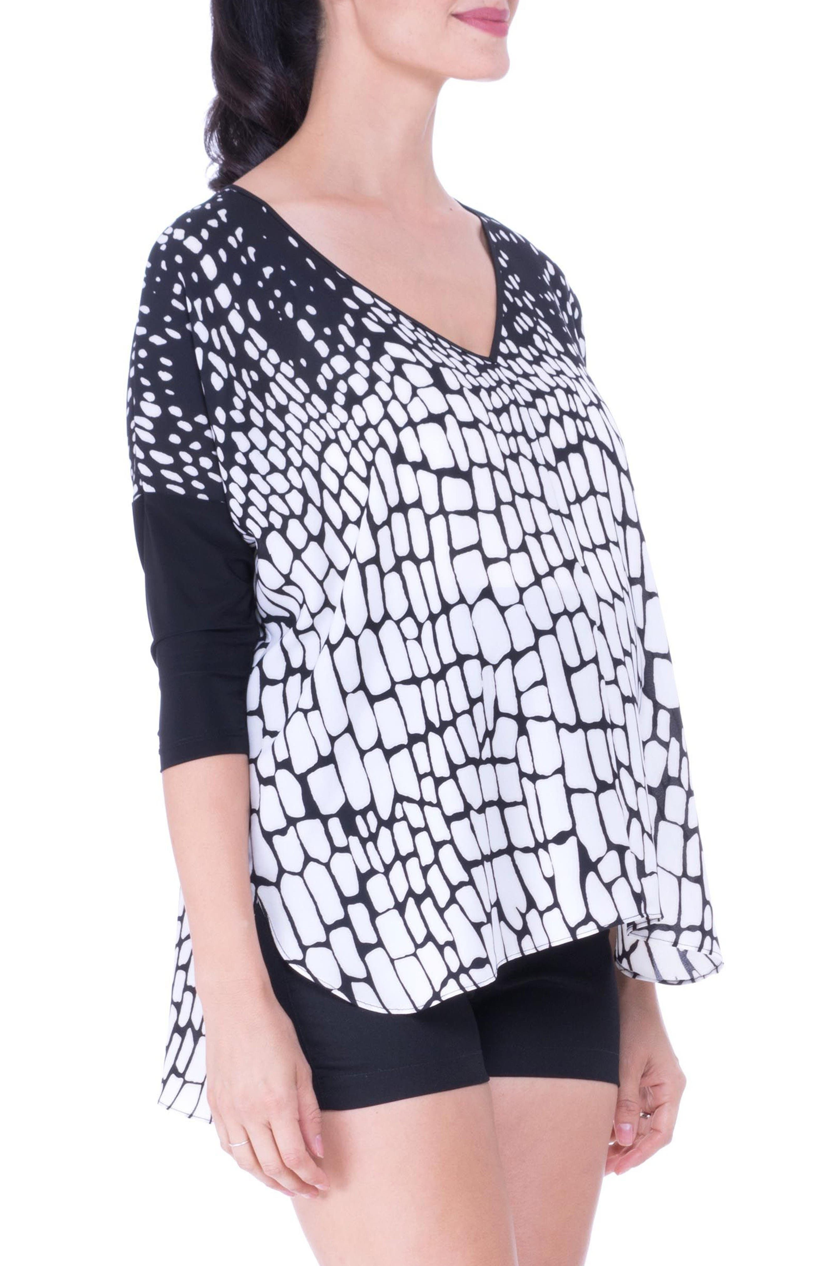 V-Neck Drop Sleeve Patterned Maternity Top,                             Alternate thumbnail 4, color,                             Black/ White