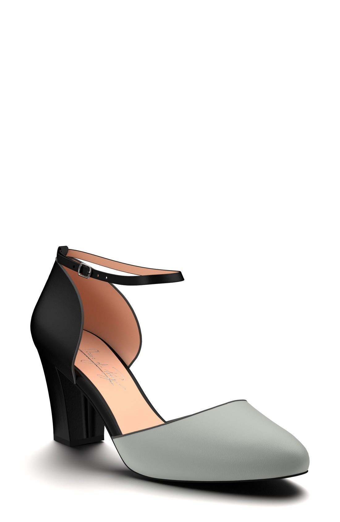 Block Heel d'Orsay Pump,                         Main,                         color, Black Leather