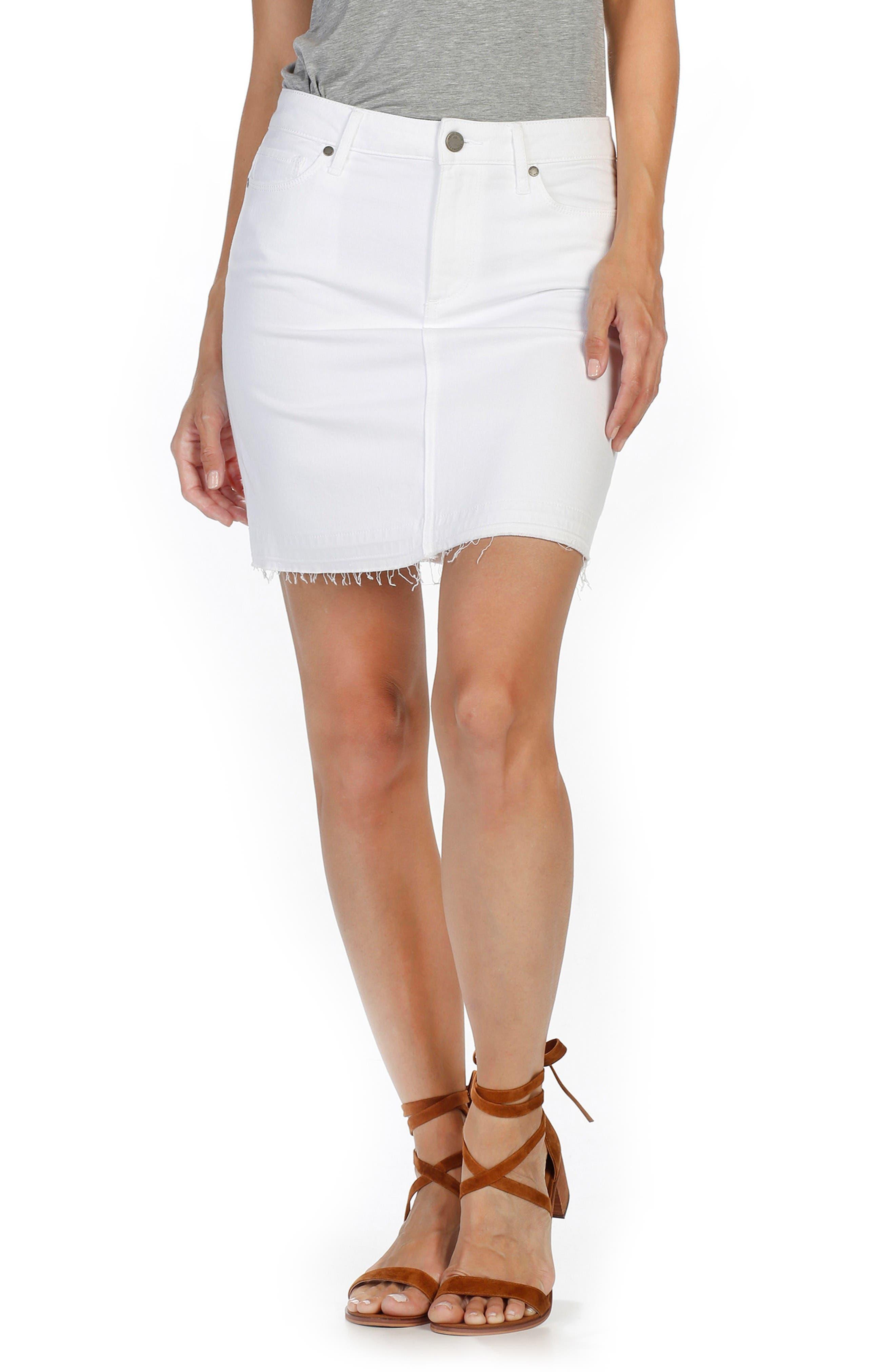 PAIGE Elaina Released Hem Denim Skirt (Optic White)