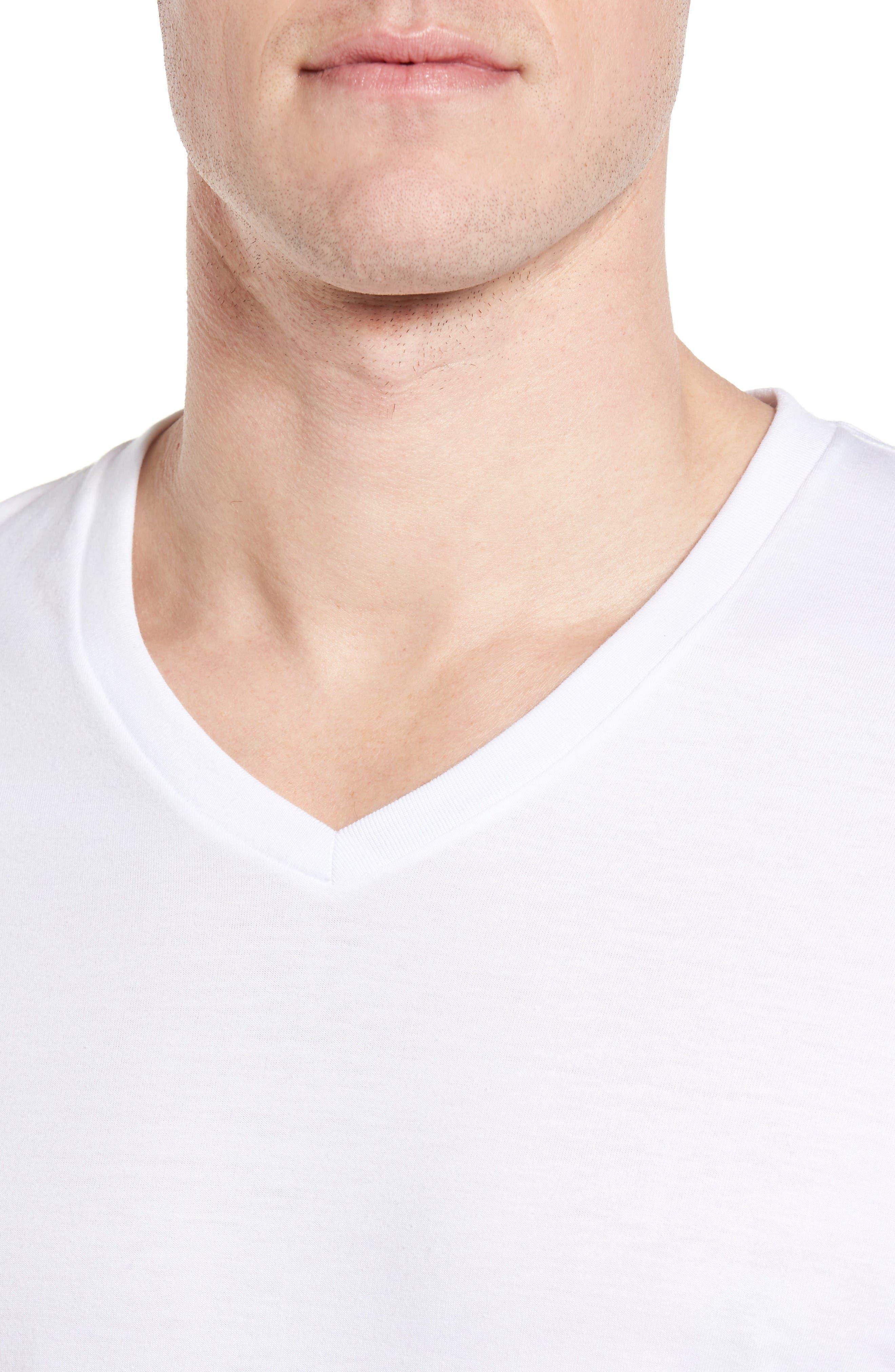 Alternate Image 5  - Nordstrom Men's Shop 4-Pack Trim Fit Supima® Cotton V-Neck T-Shirts