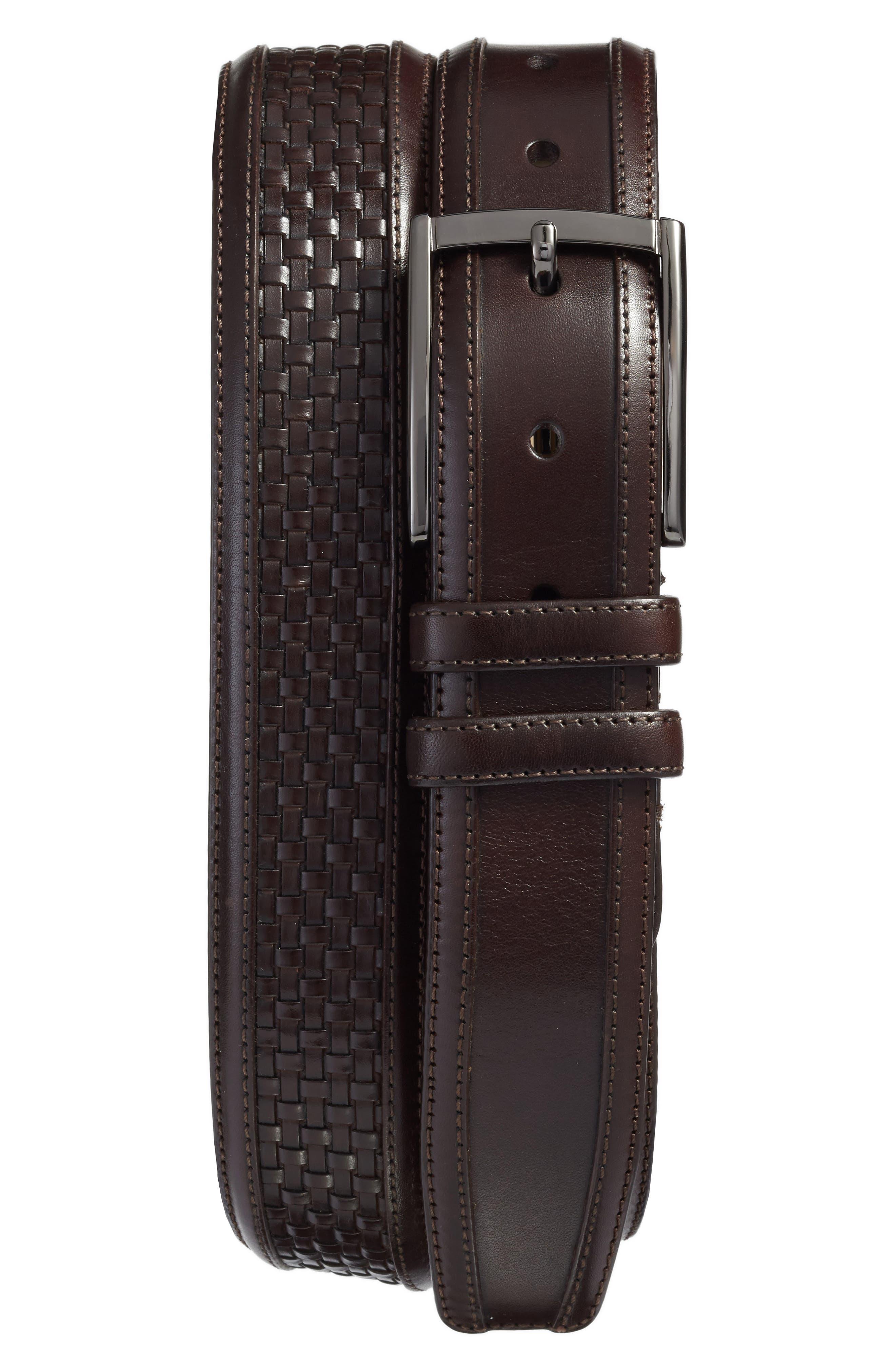 Parma Woven Leather Belt,                             Main thumbnail 1, color,                             Brown