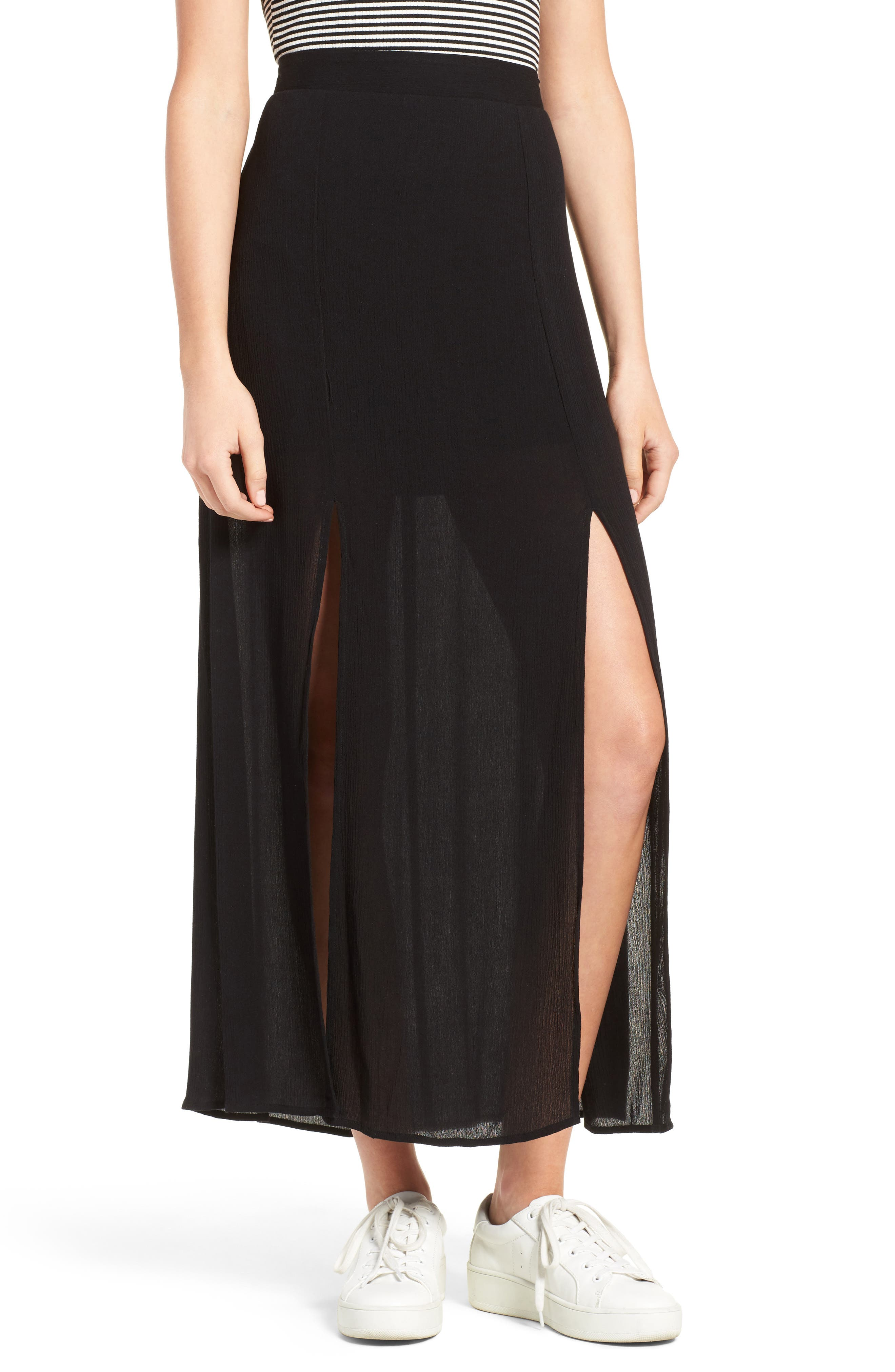 Slit Maxi Skirt,                         Main,                         color, Black
