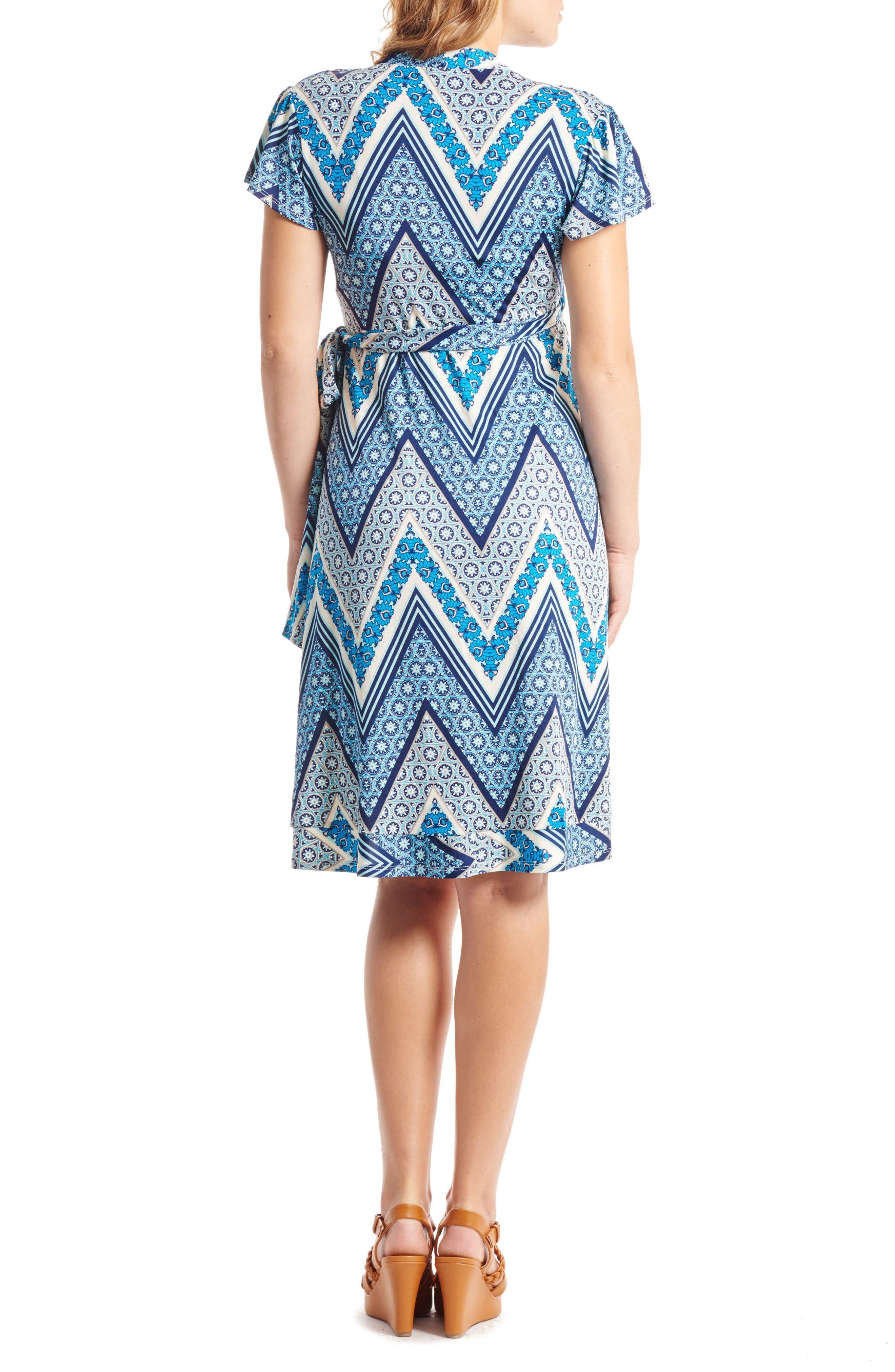 'Kathy' Maternity/Nursing Wrap Dress,                             Alternate thumbnail 2, color,                             Blue Chevron