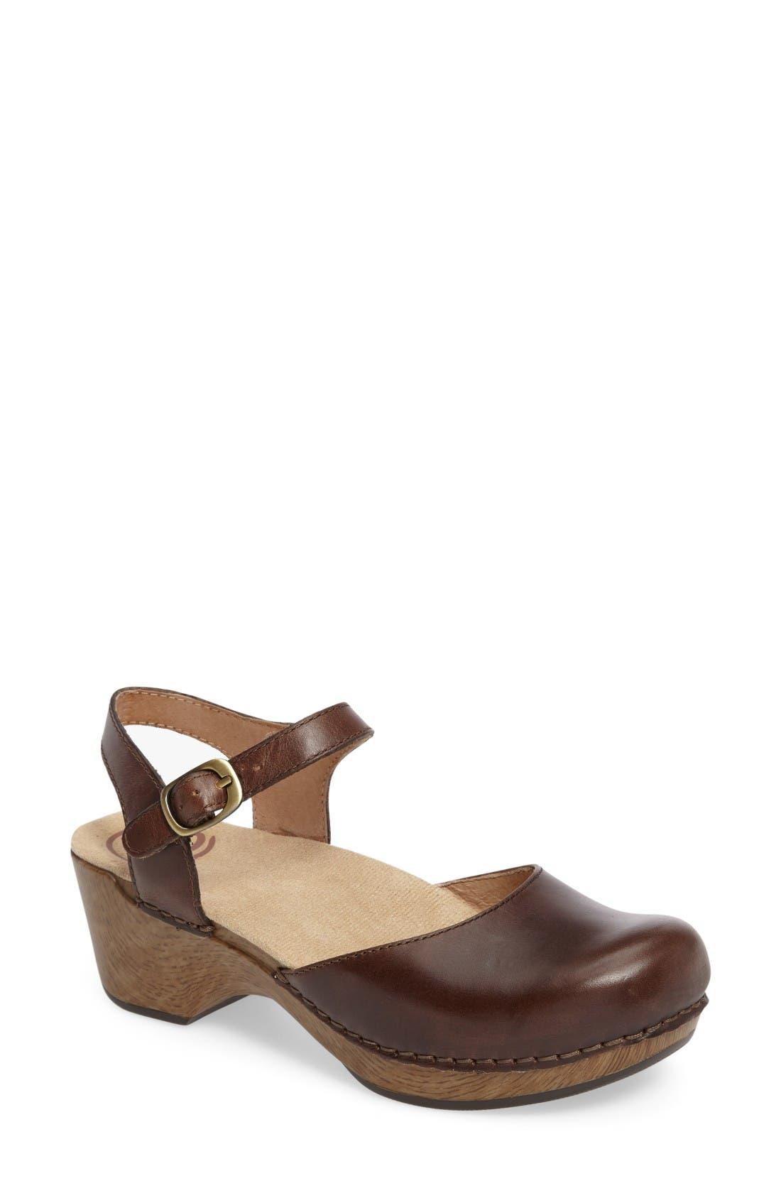 'Sam' Clog,                         Main,                         color, Teak Vintage Leather