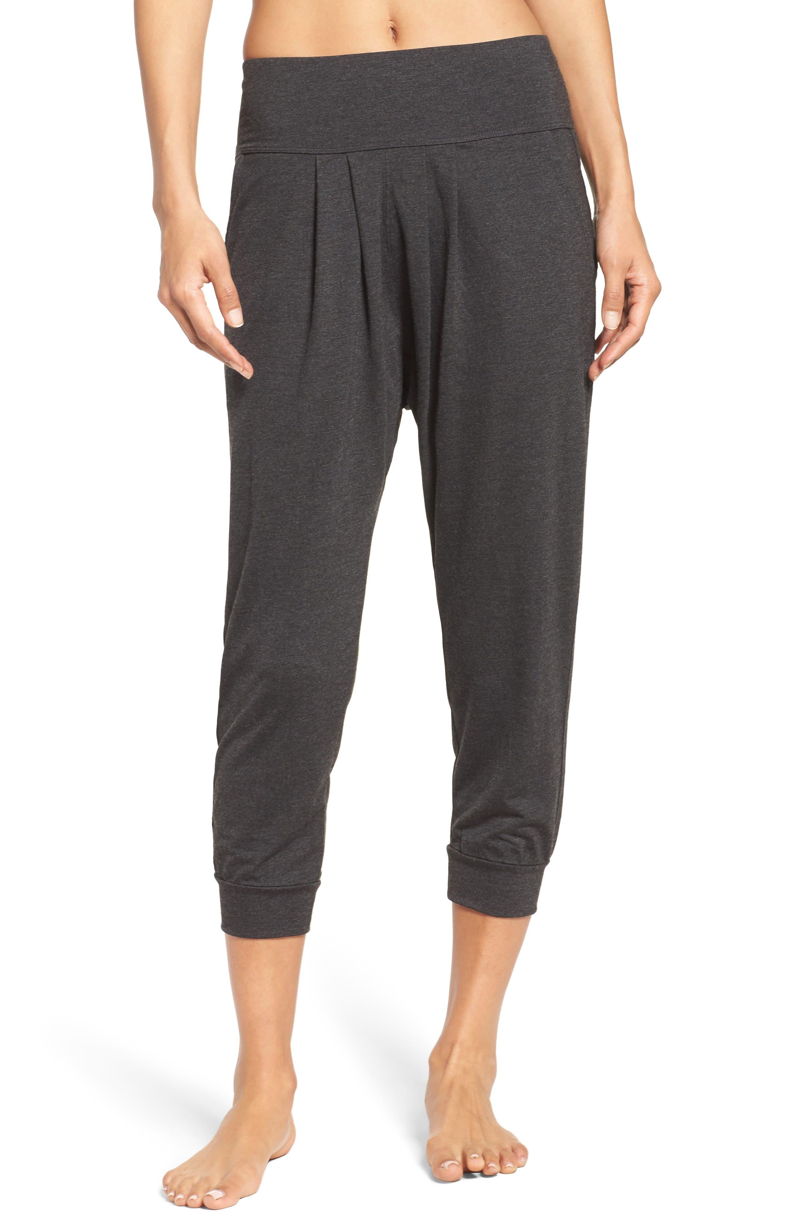 Harmony Crop Harem Pants,                             Main thumbnail 1, color,                             Grey Dark Charcoal Heather