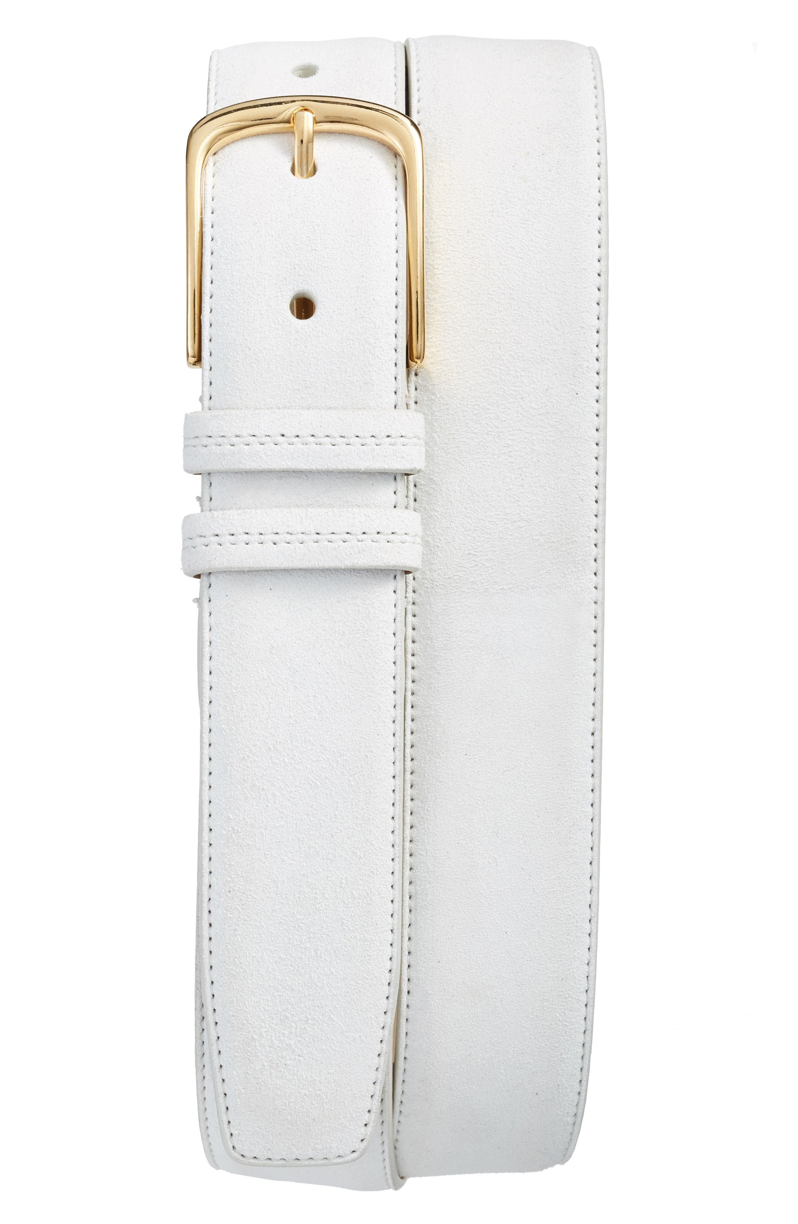 Suede Belt,                         Main,                         color, White
