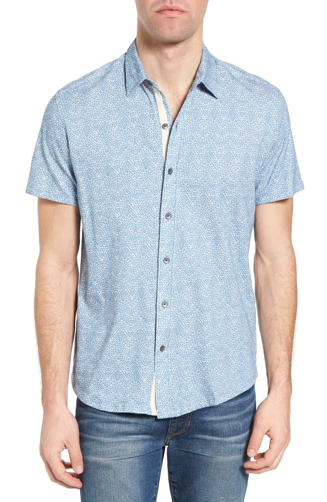 Metropolitan Brick Slim Fit Linen Sport Shirt,                         Main,                         color, Light Blue