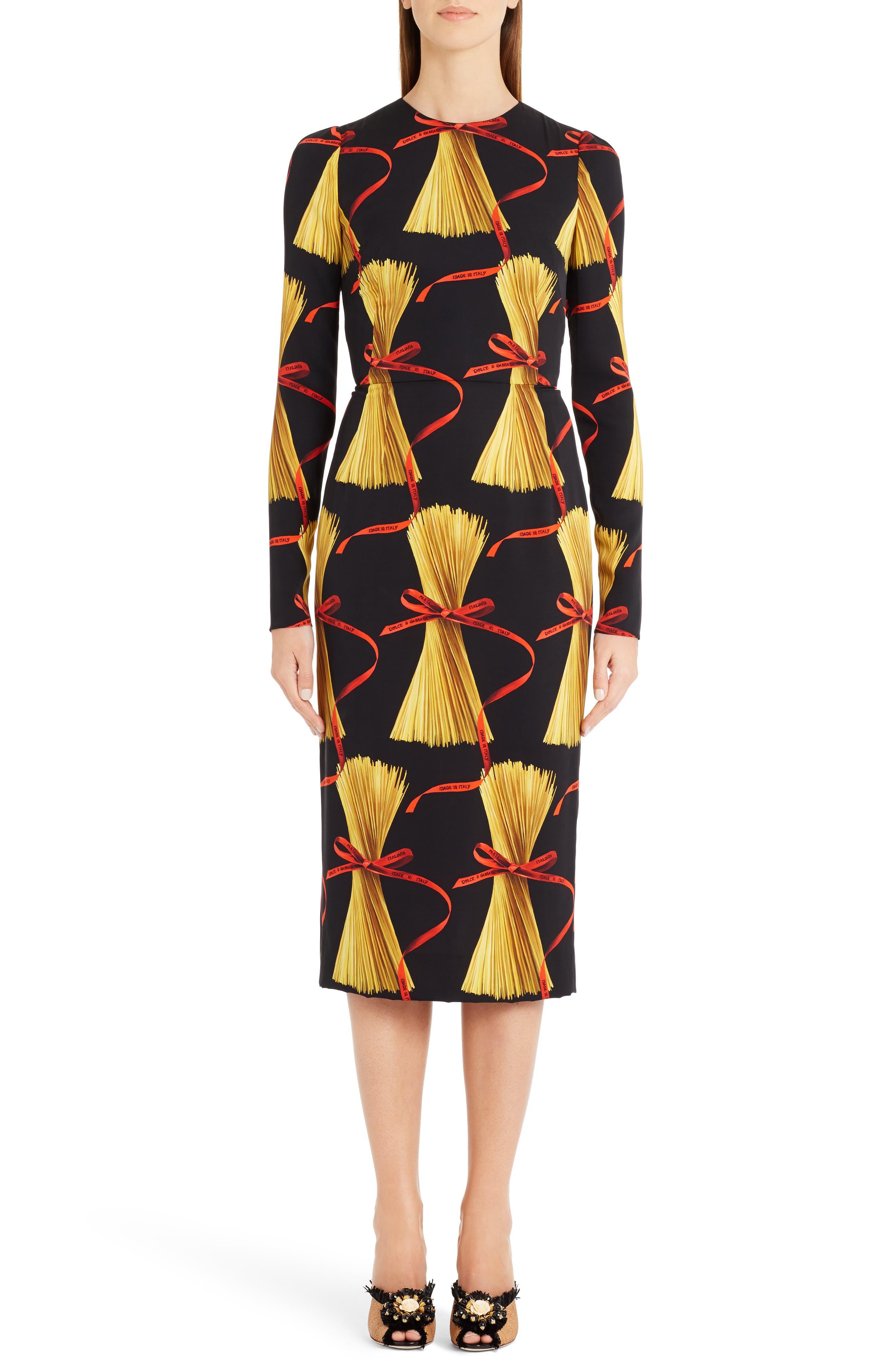 Main Image - Dolce&Gabbana Pasta Print Stretch Silk Dress