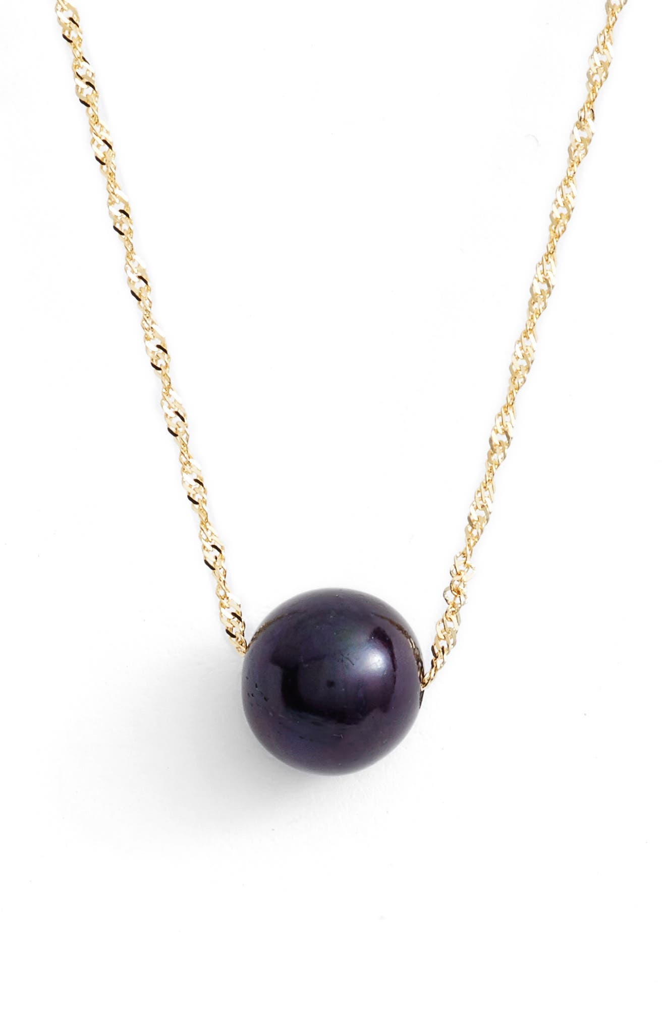 Solitaire Cultured Pearl Pendant Necklace,                         Main,                         color, Yellow Gold/ Black Pearl