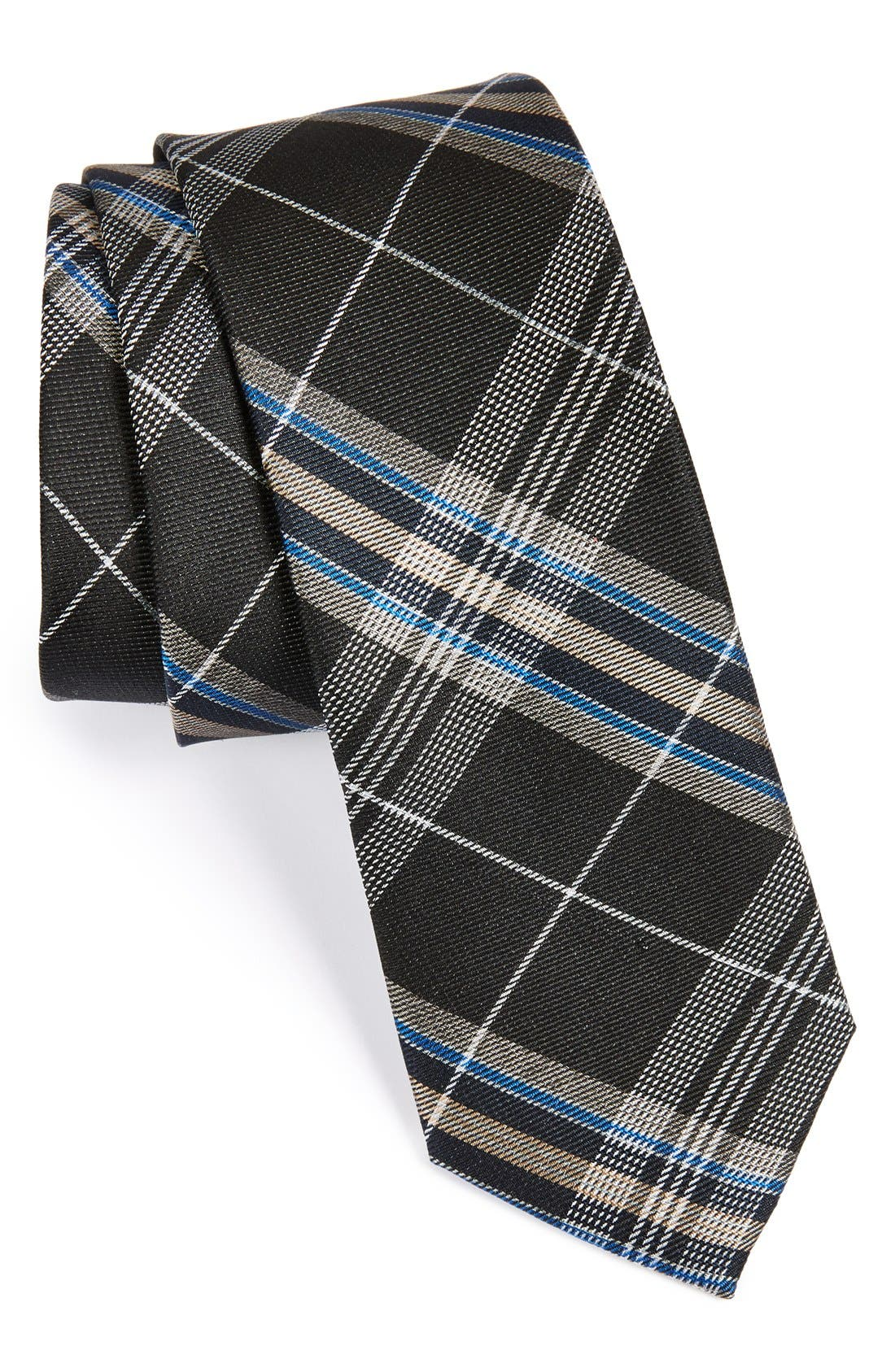 'Z-Plaid' Silk Tie,                         Main,                         color, Black