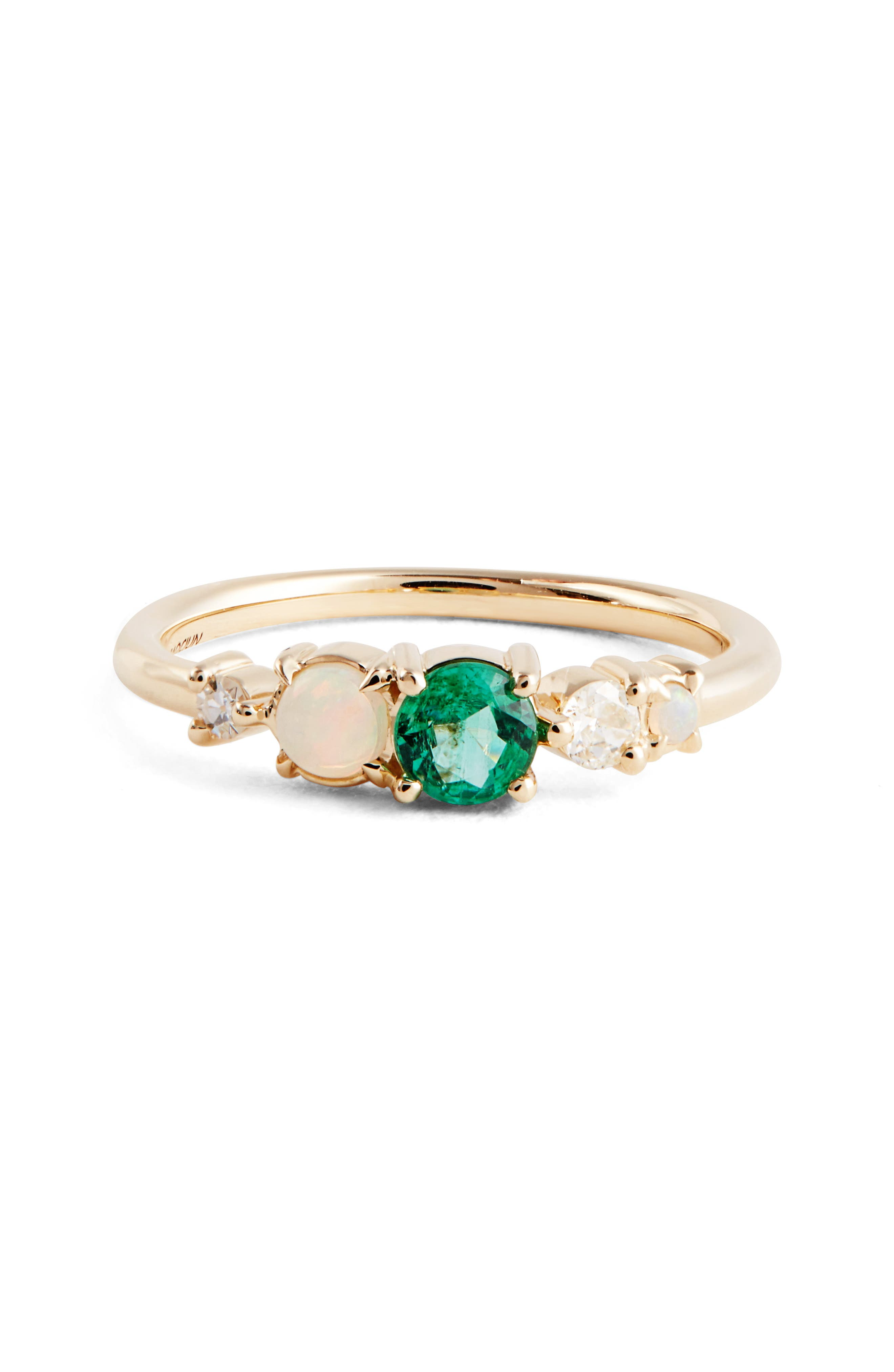 Emerald, Opal & Diamond Ring,                         Main,                         color, Yellow Green
