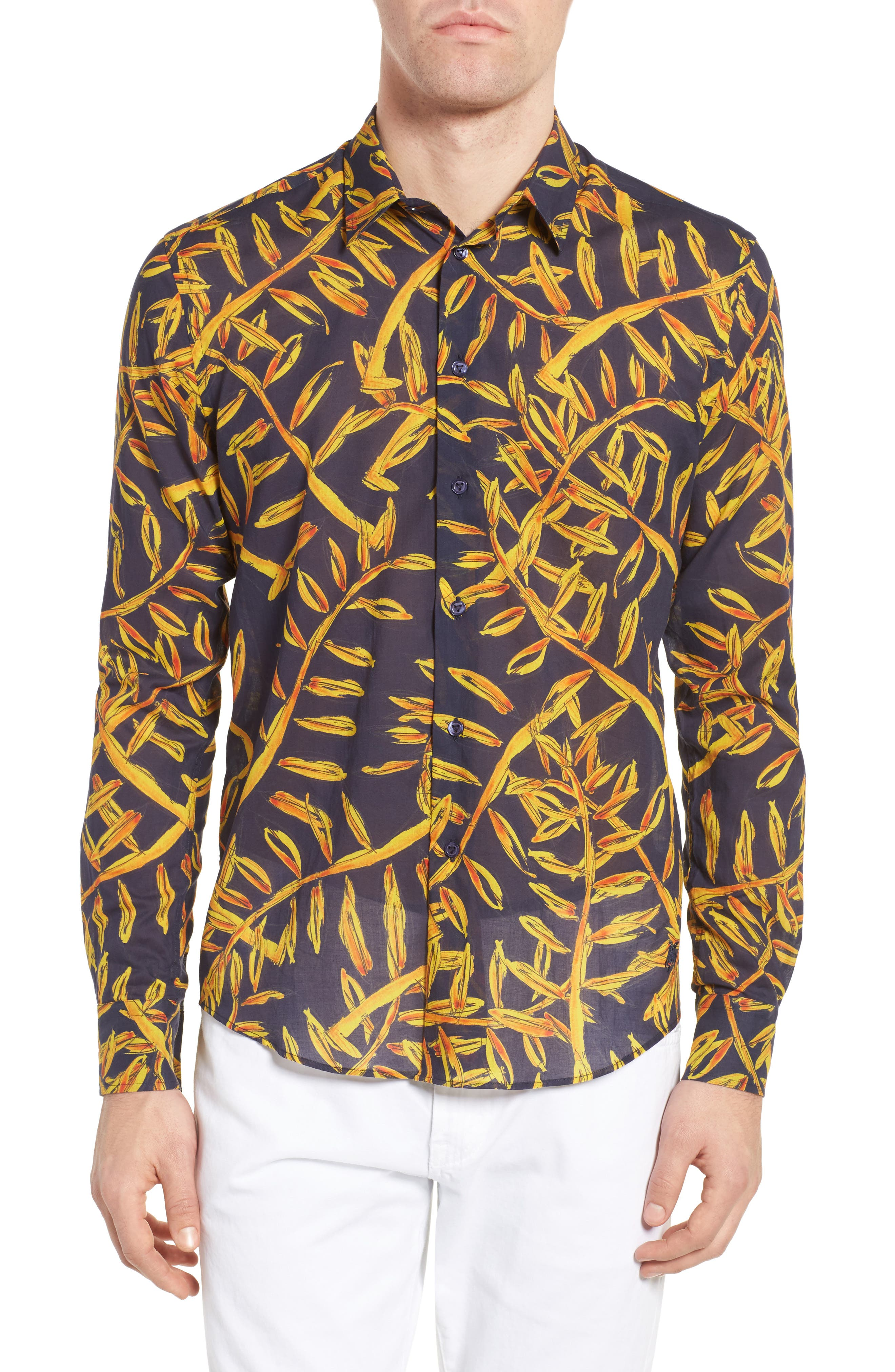 Vilbrequin Gold Palms Voile Sport Shirt,                         Main,                         color, Navy Blue
