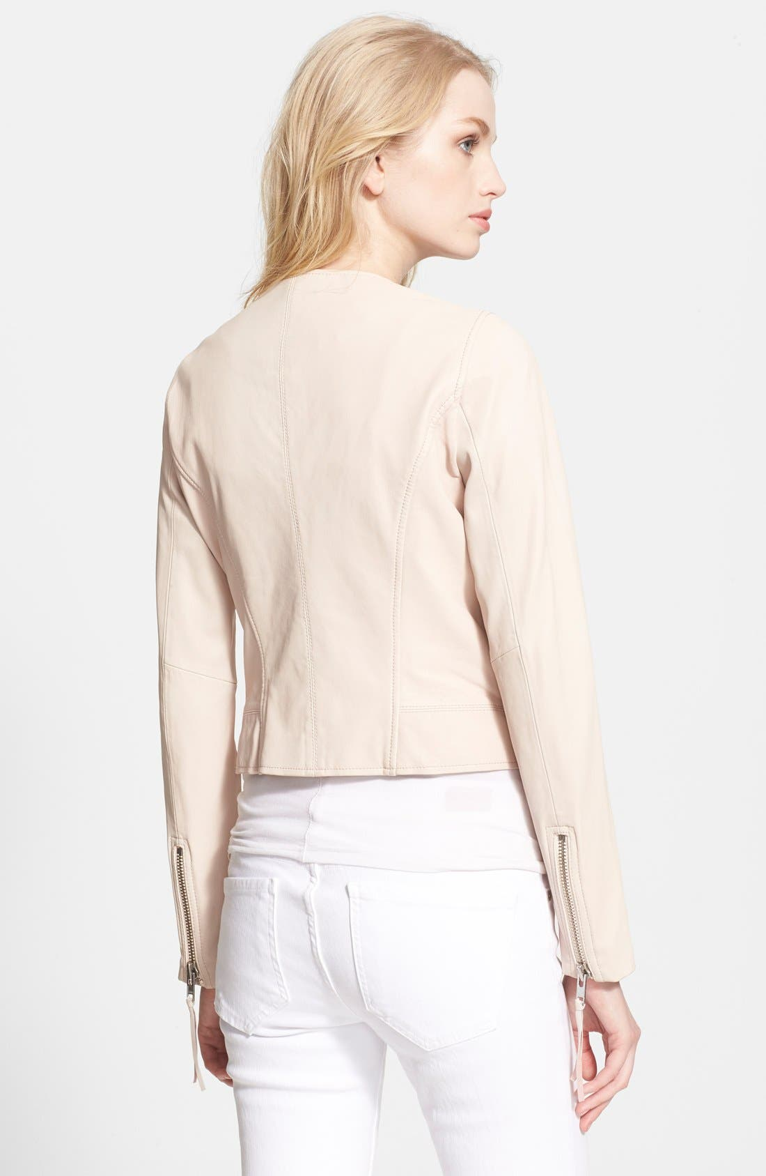 'Vivianette' Leather Moto Jacket,                             Alternate thumbnail 2, color,                             Soft Sand