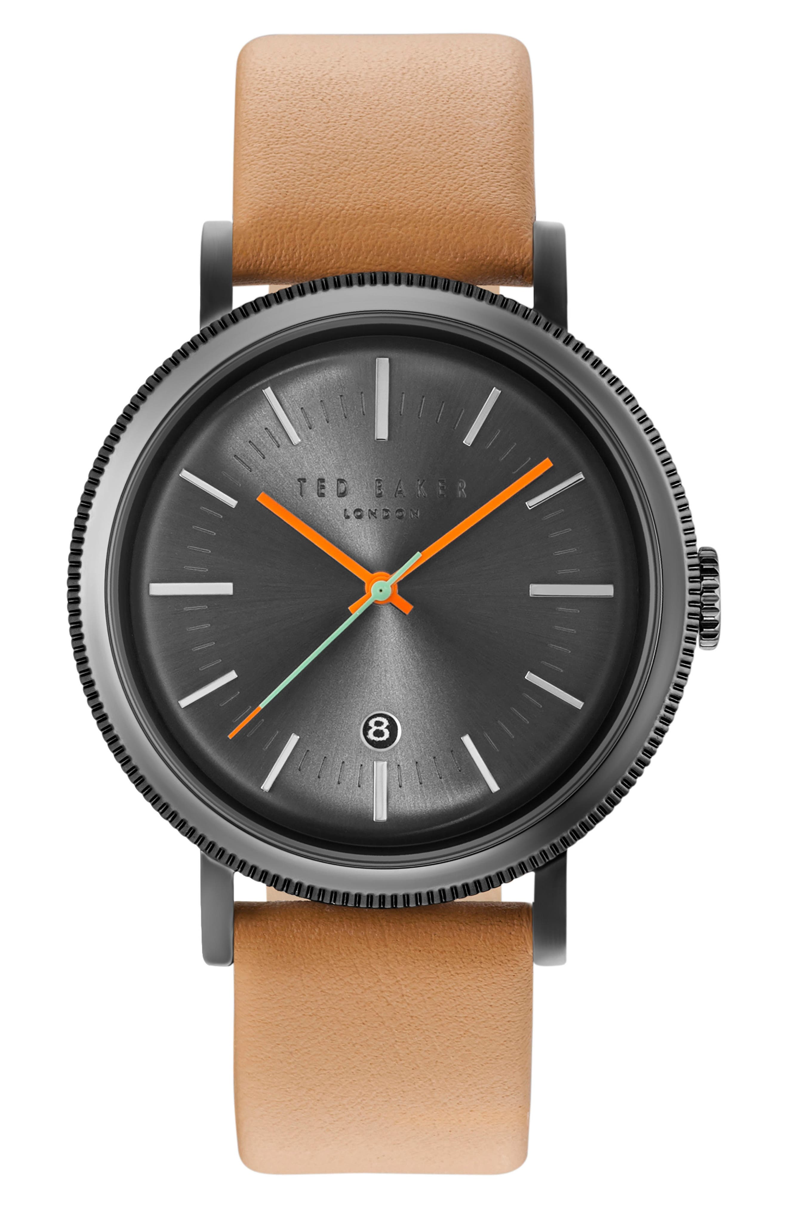 Connor Leather Strap Watch, 42mm,                         Main,                         color, Gunmetal/Tan