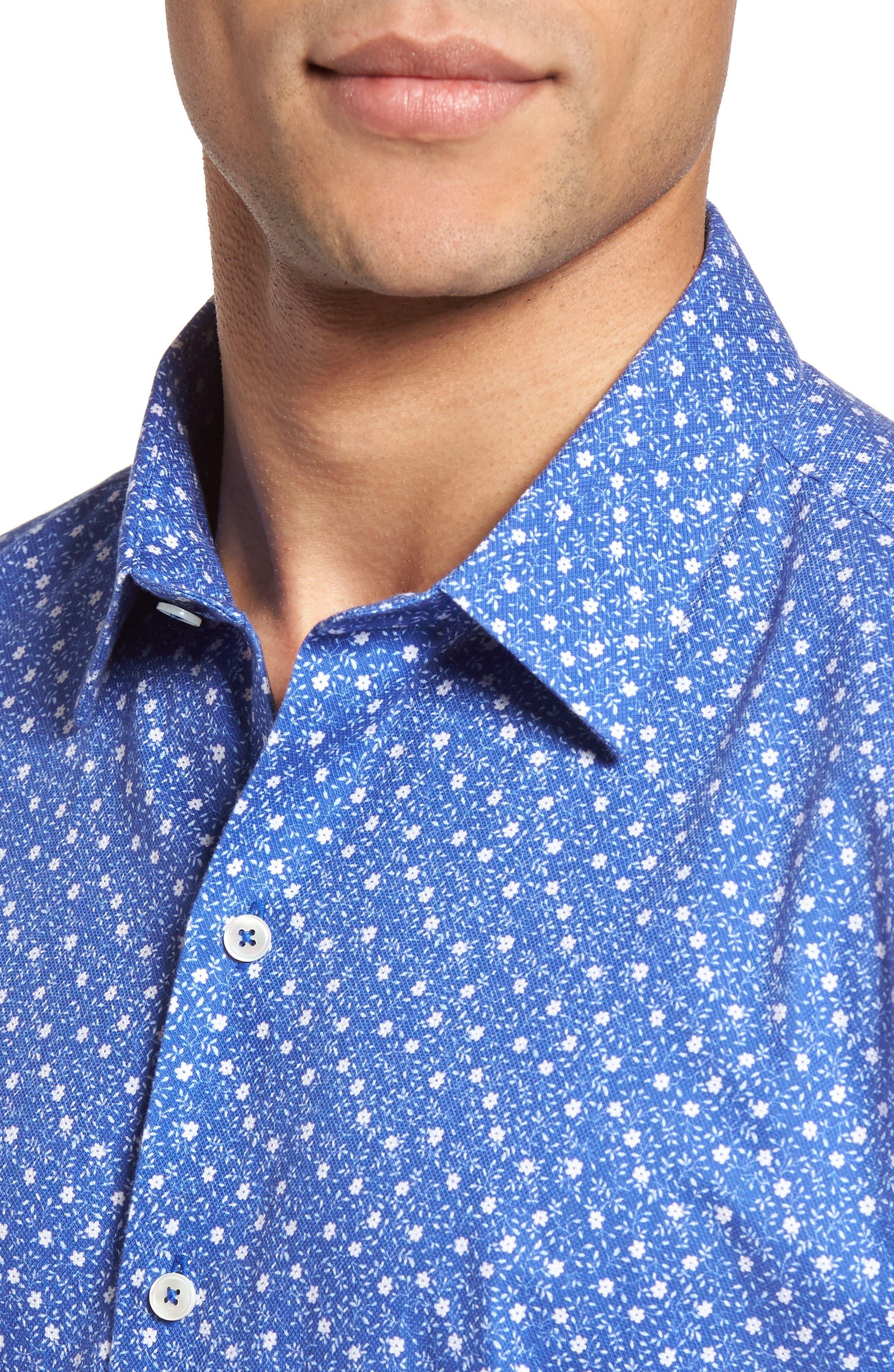 Rashid Print Sport Shirt,                             Alternate thumbnail 4, color,                             Royal
